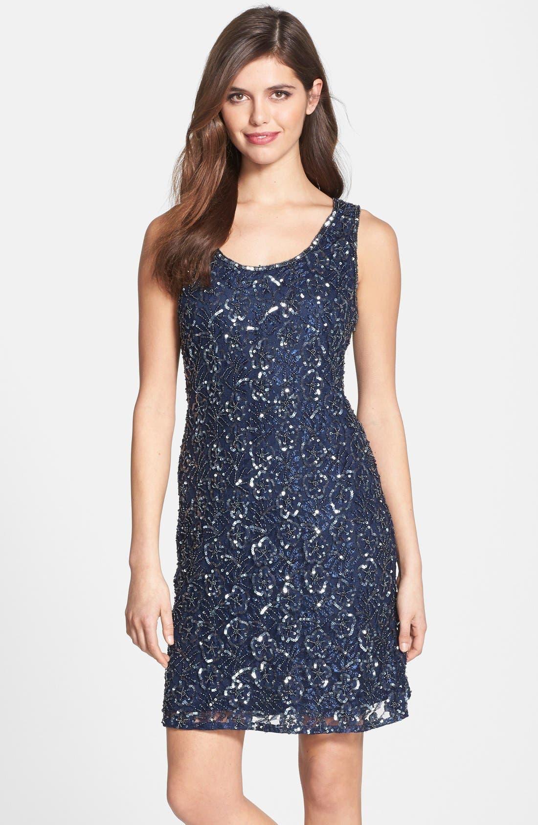 Main Image - Pisarro Nights Embellished Mesh A-Line Dress