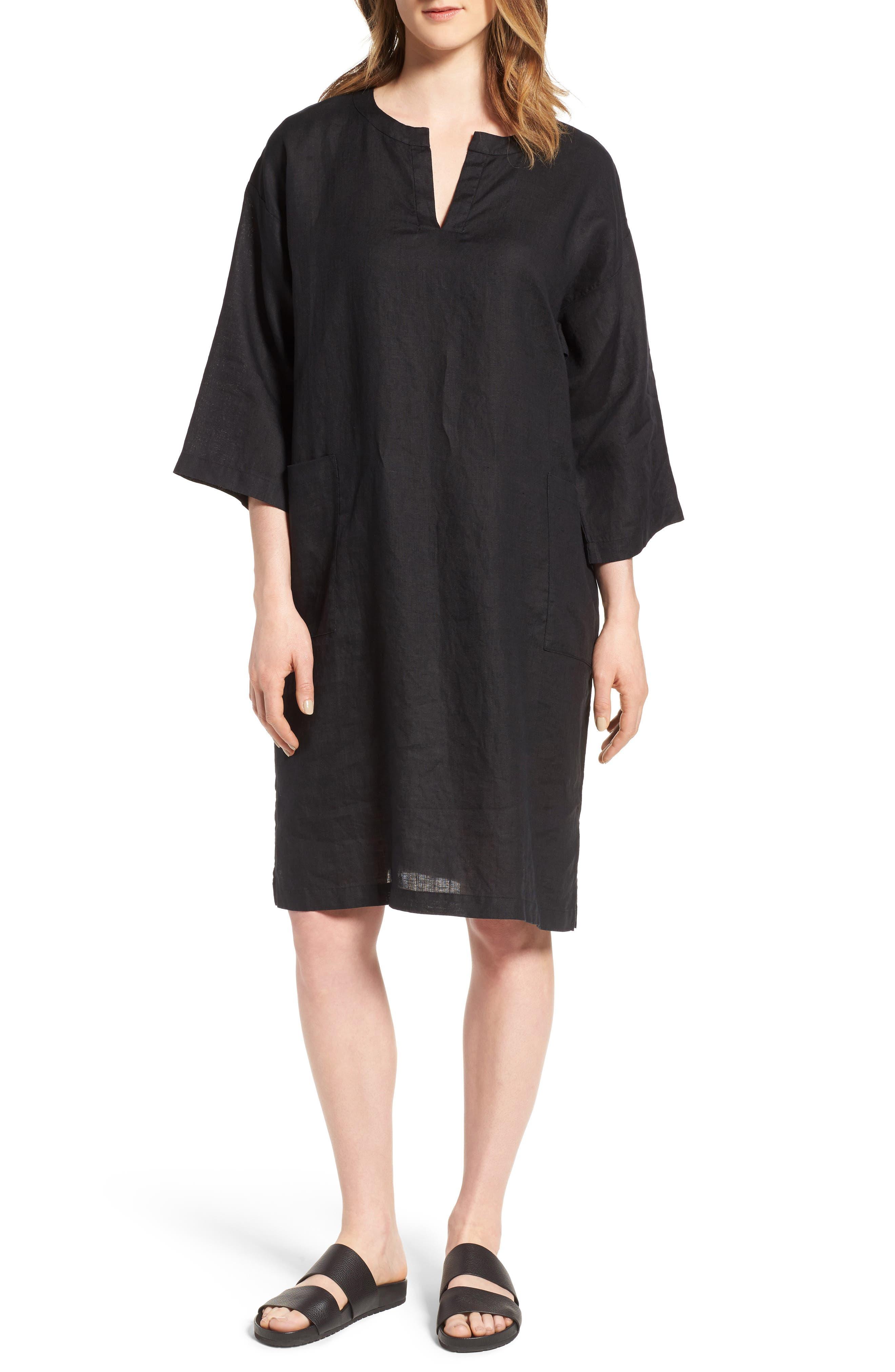 Eileen Fisher Organic Linen Shift Dress