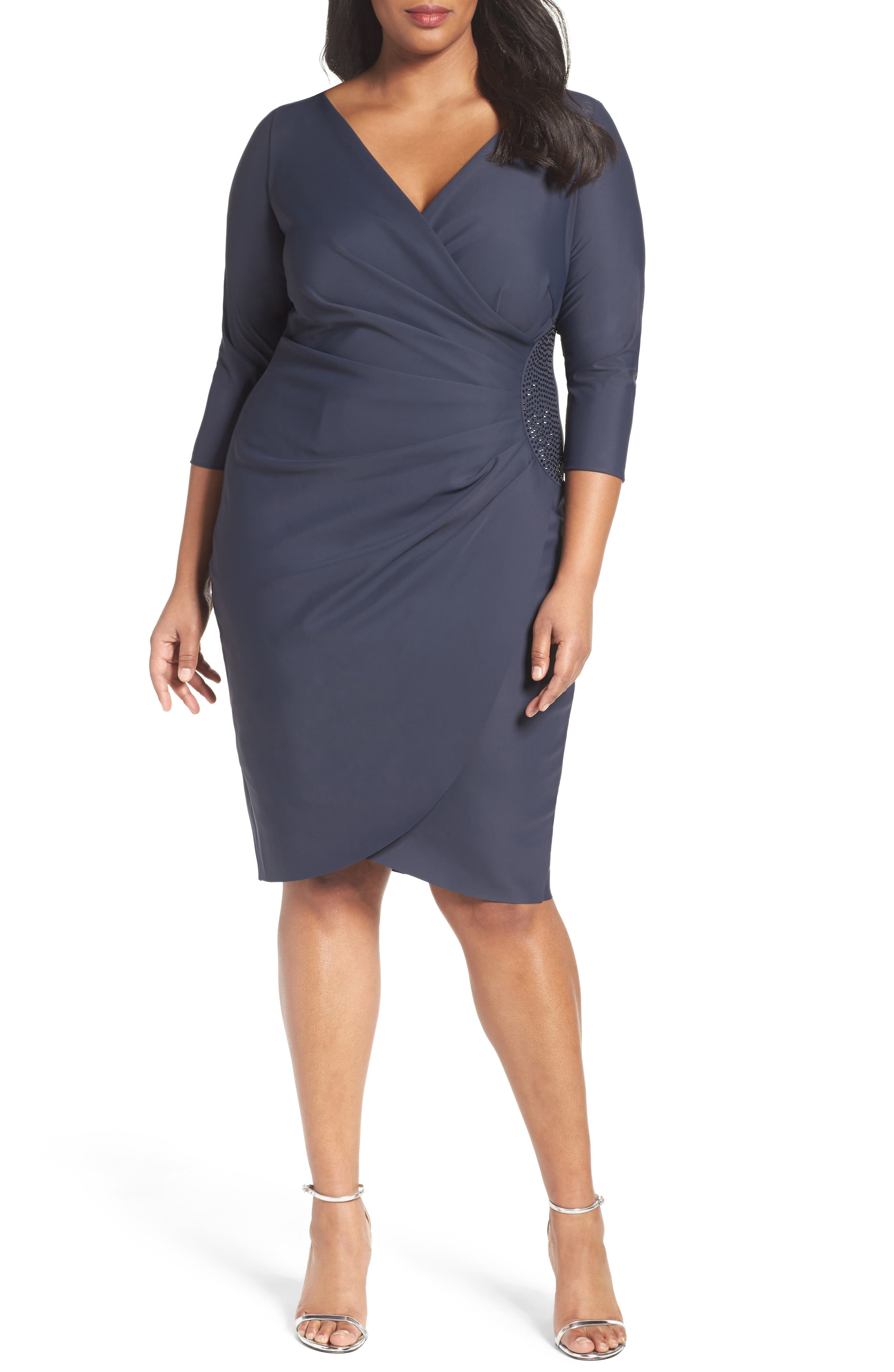 ALEX EVENINGS Embellished Side Ruched Cocktail Dress