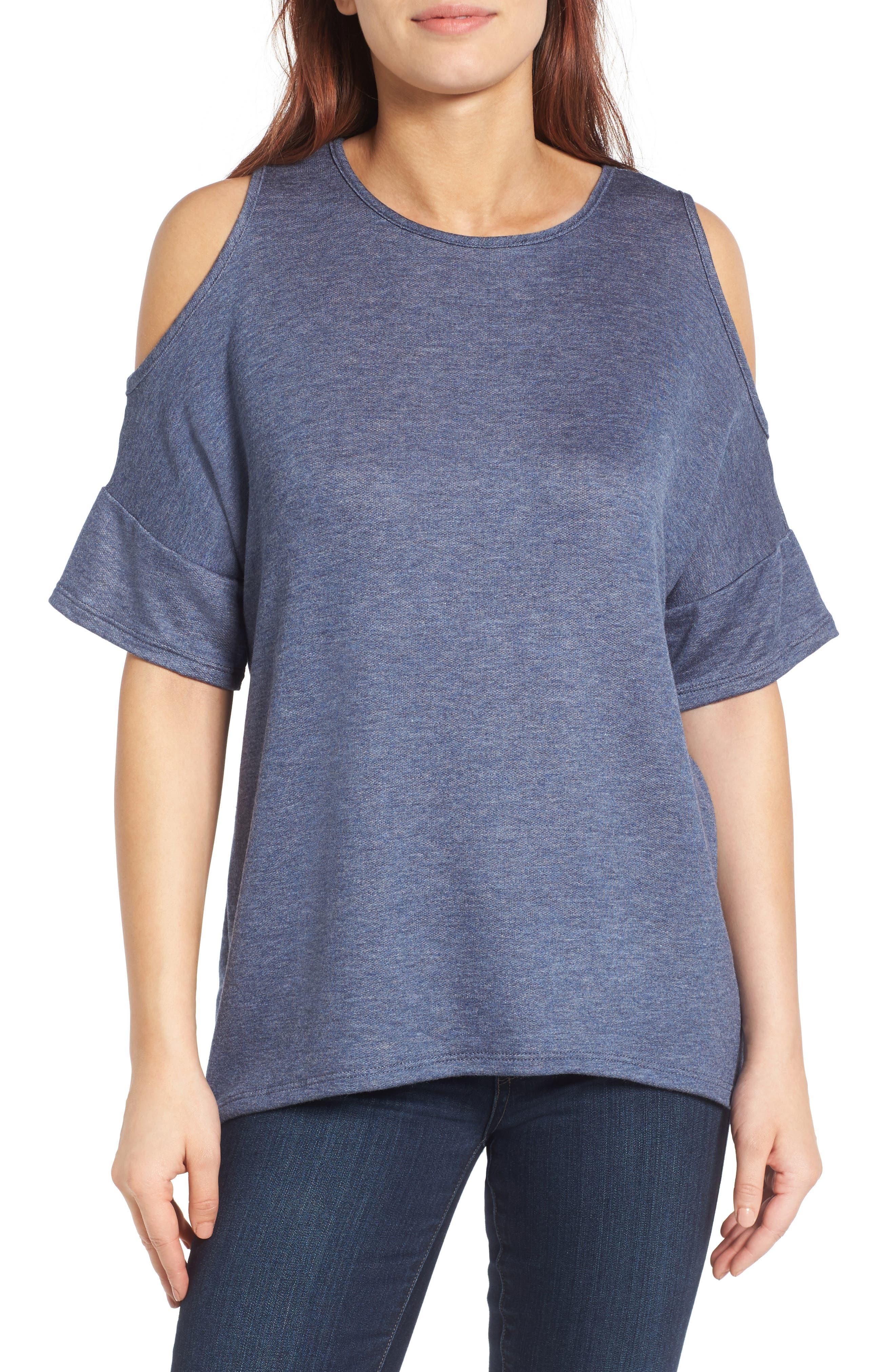 Alternate Image 1 Selected - Bobeau High/Low Cold Shoulder Sweatshirt
