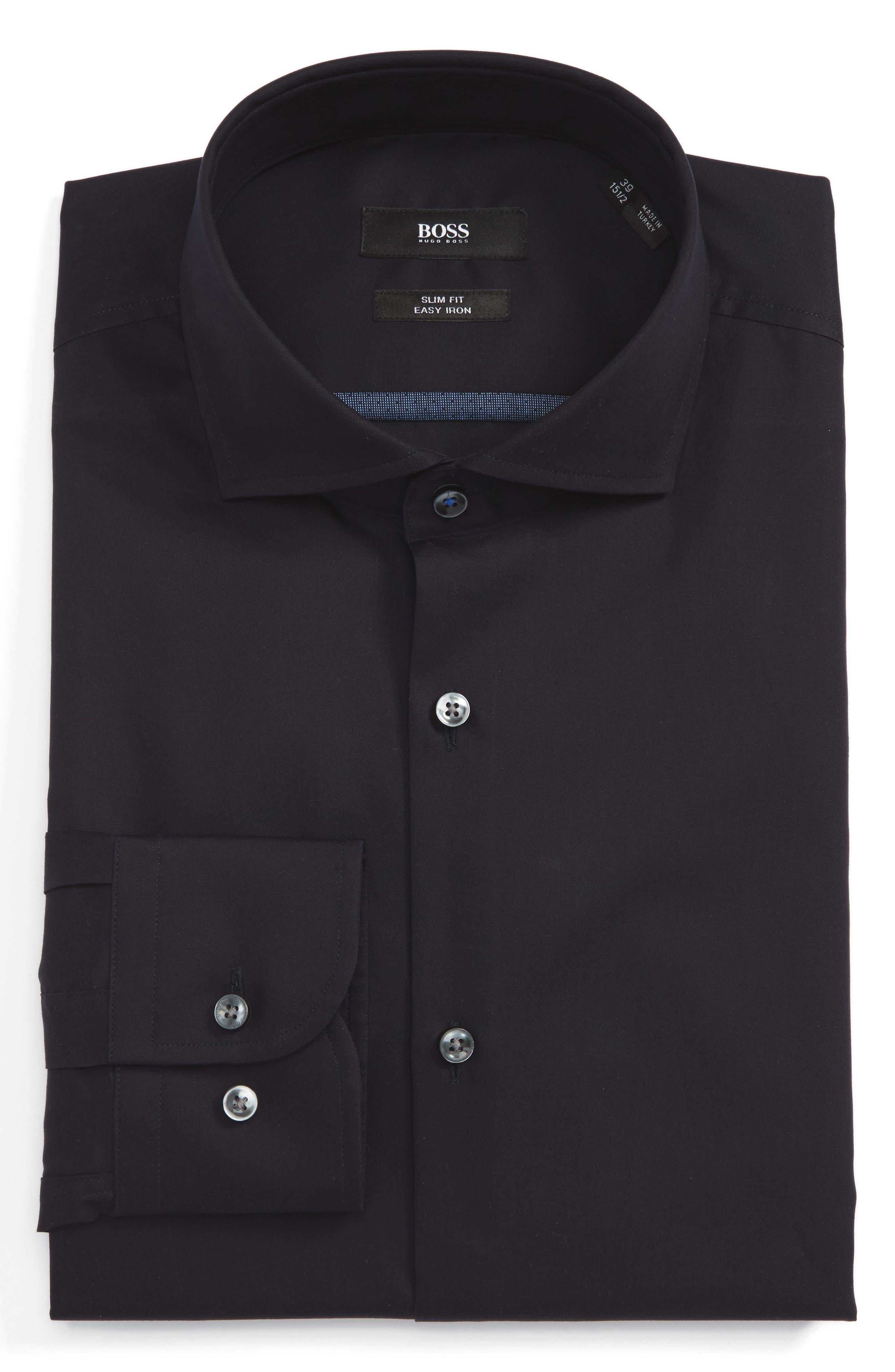 BOSS Slim Fit Easy Iron Solid Dress Shirt