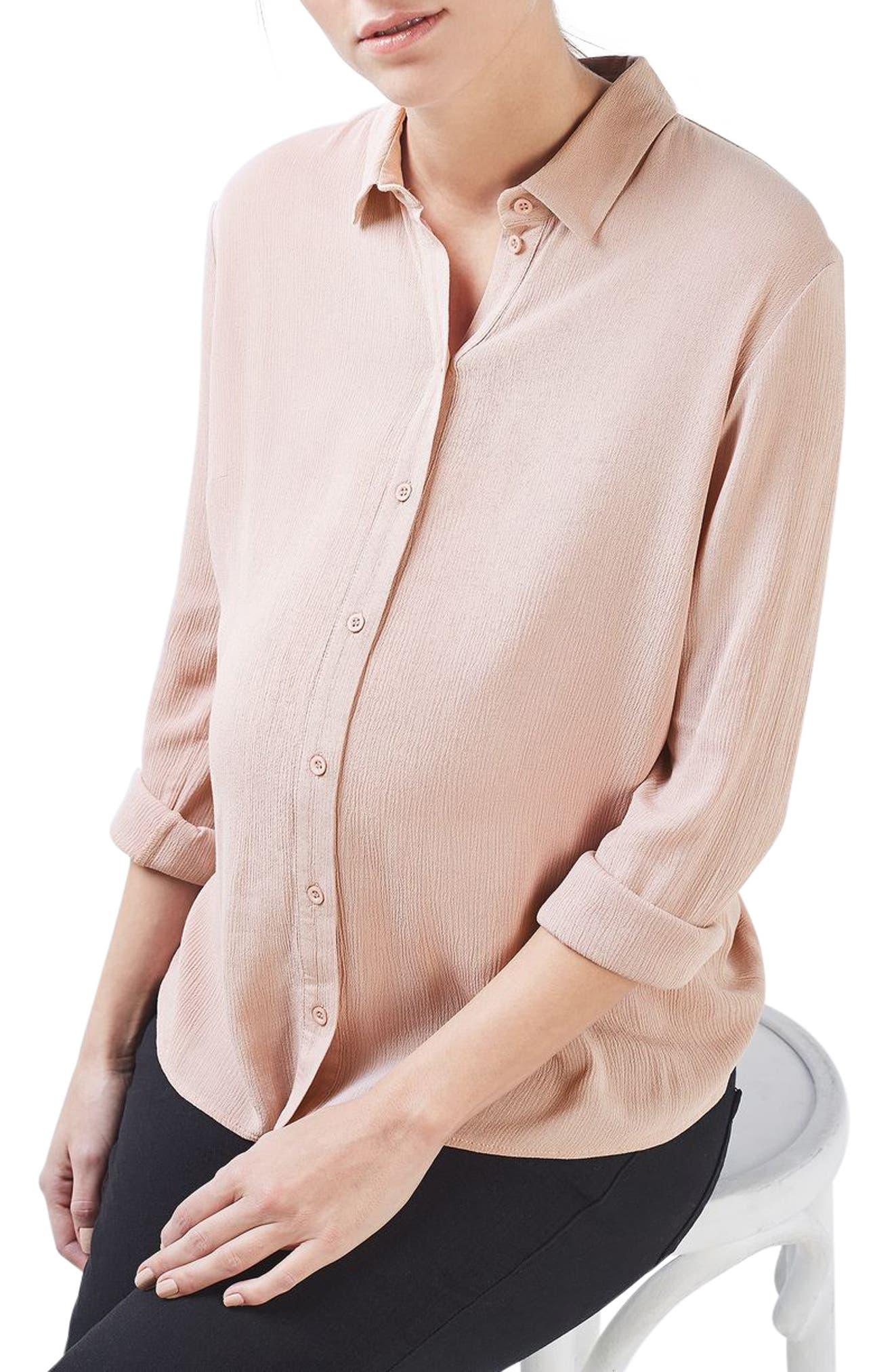 Main Image - Topshop Tie Back Maternity Shirt