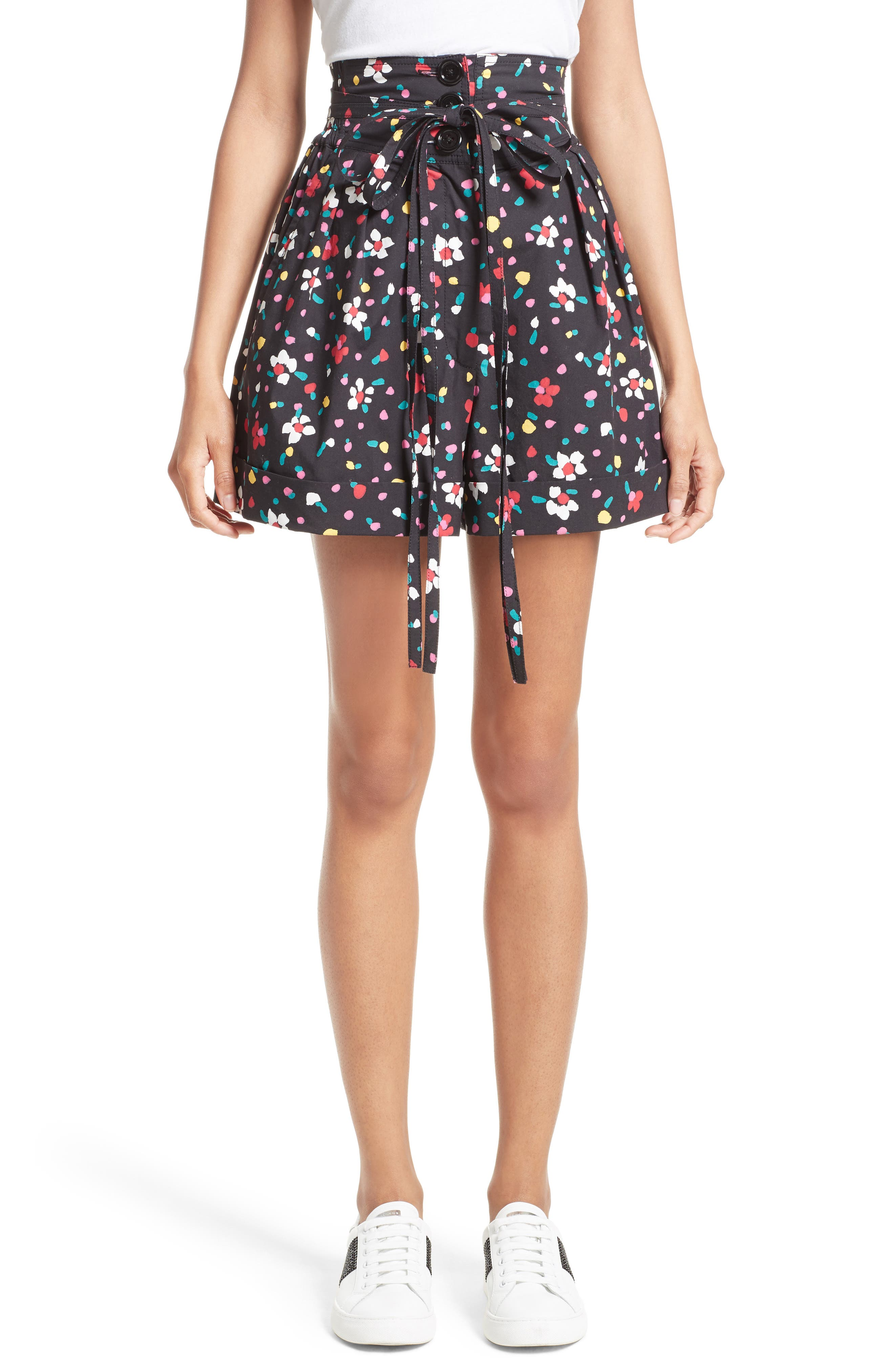 Main Image - MARC JACOBS Floral Cotton High Waist Shorts