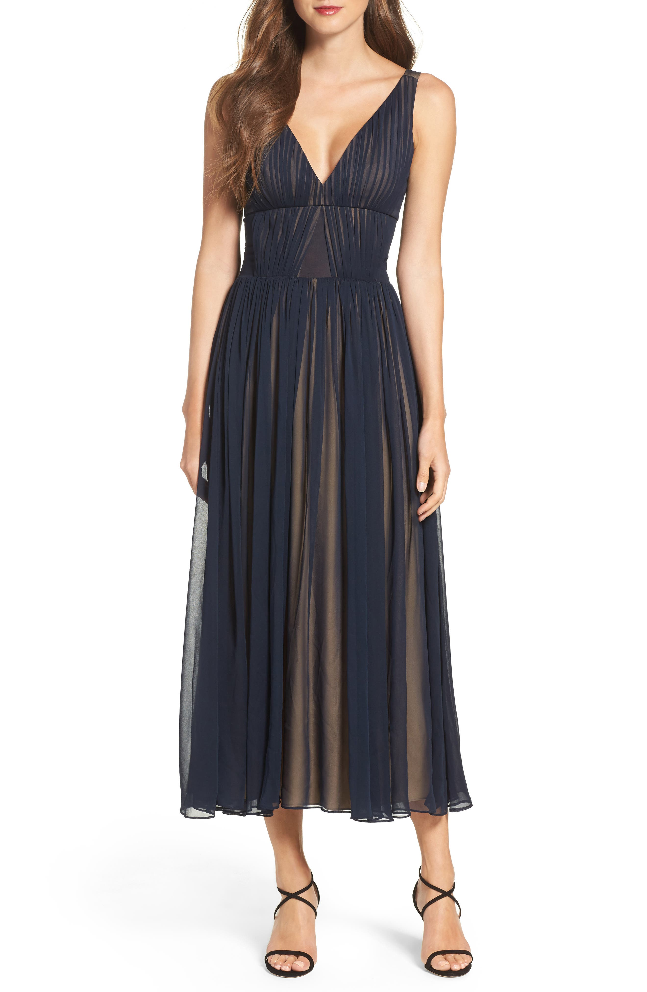 Vera Wang Chiffon Fit & Flare Dress