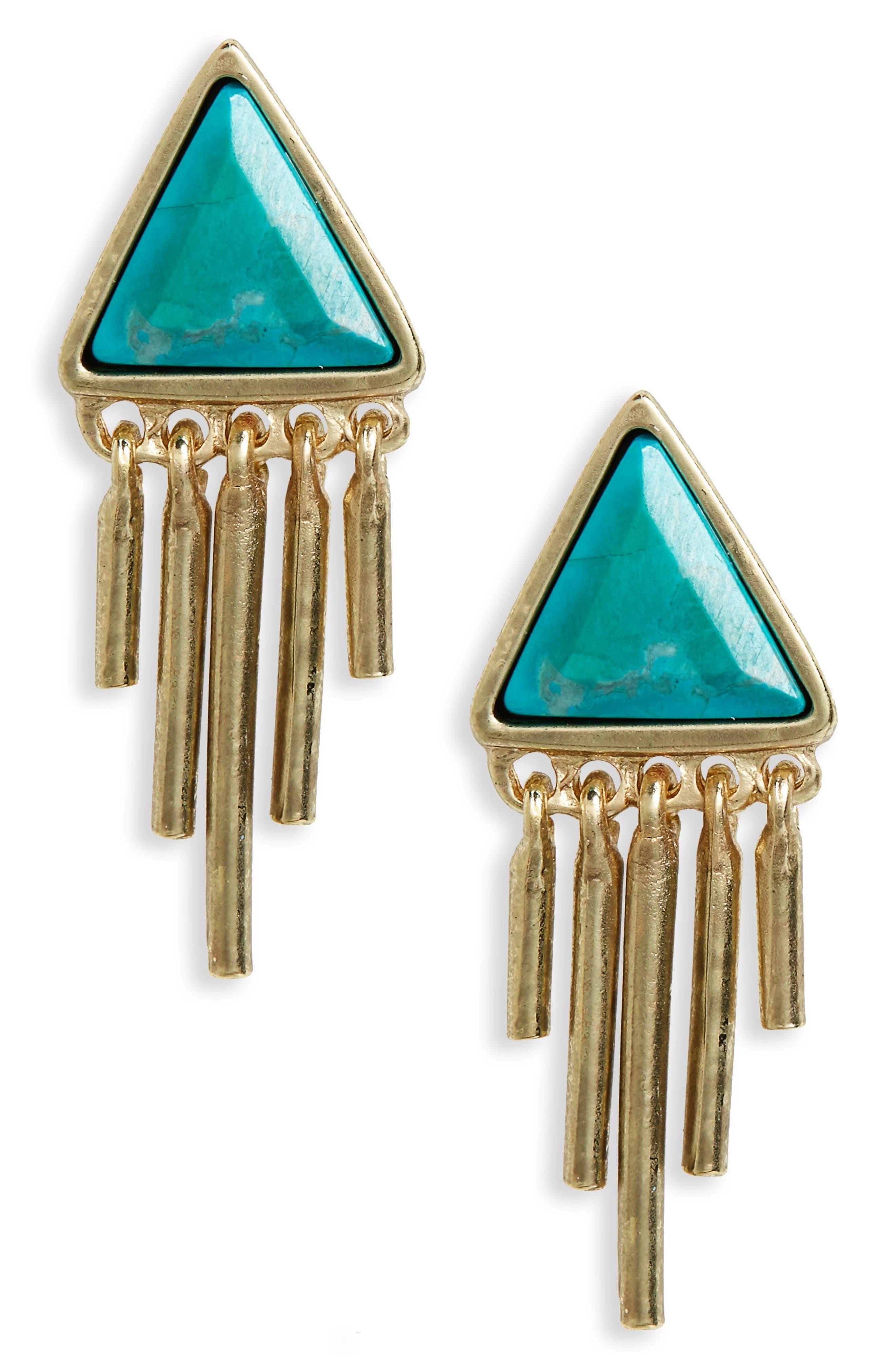 Treasure & Bond Triangle Fringe Stud Earrings