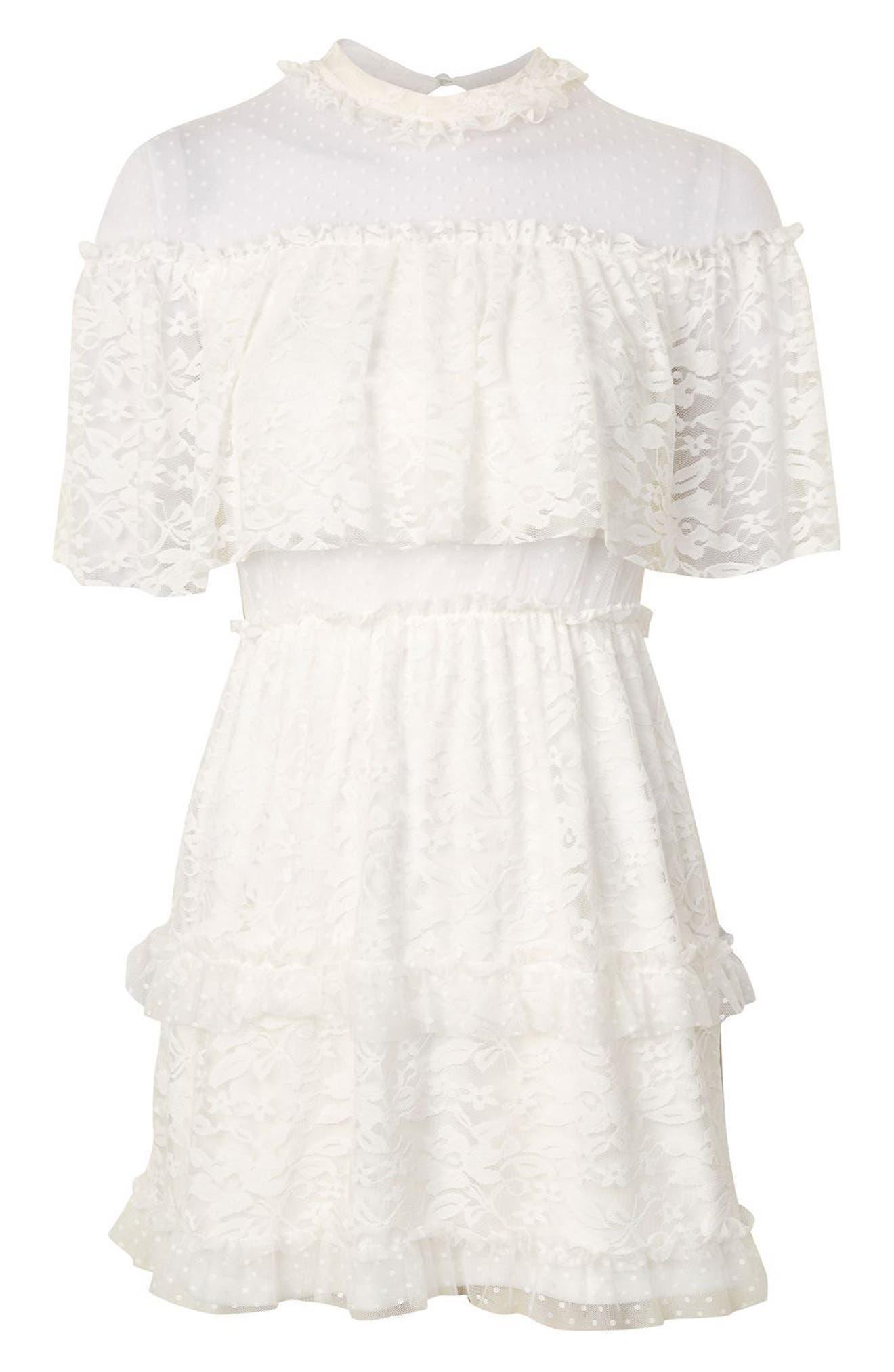 Alternate Image 4  - Topshop Lace Cape Skater Dress