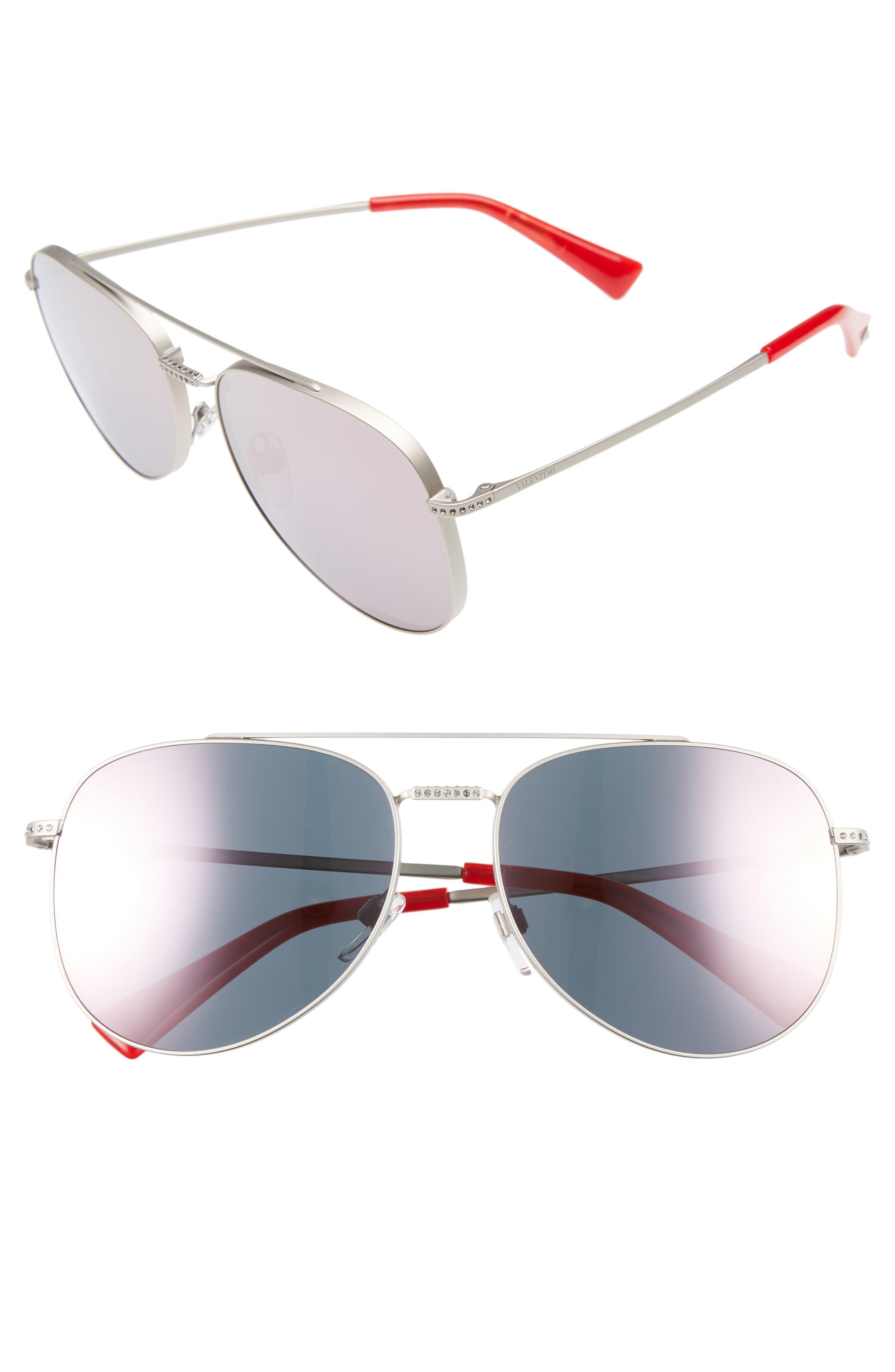 Valentino 56mm Aviator Sunglasses