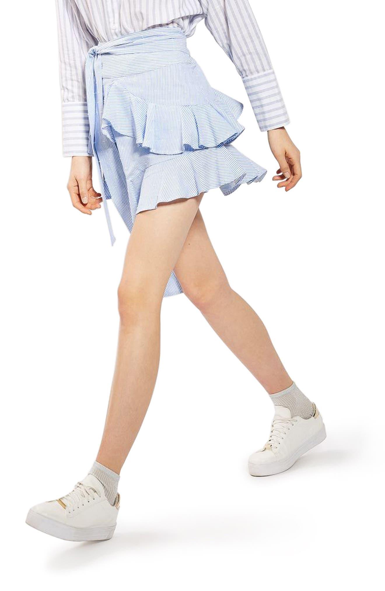 Main Image - Topshop Dobby Stripe Ruffle Skirt