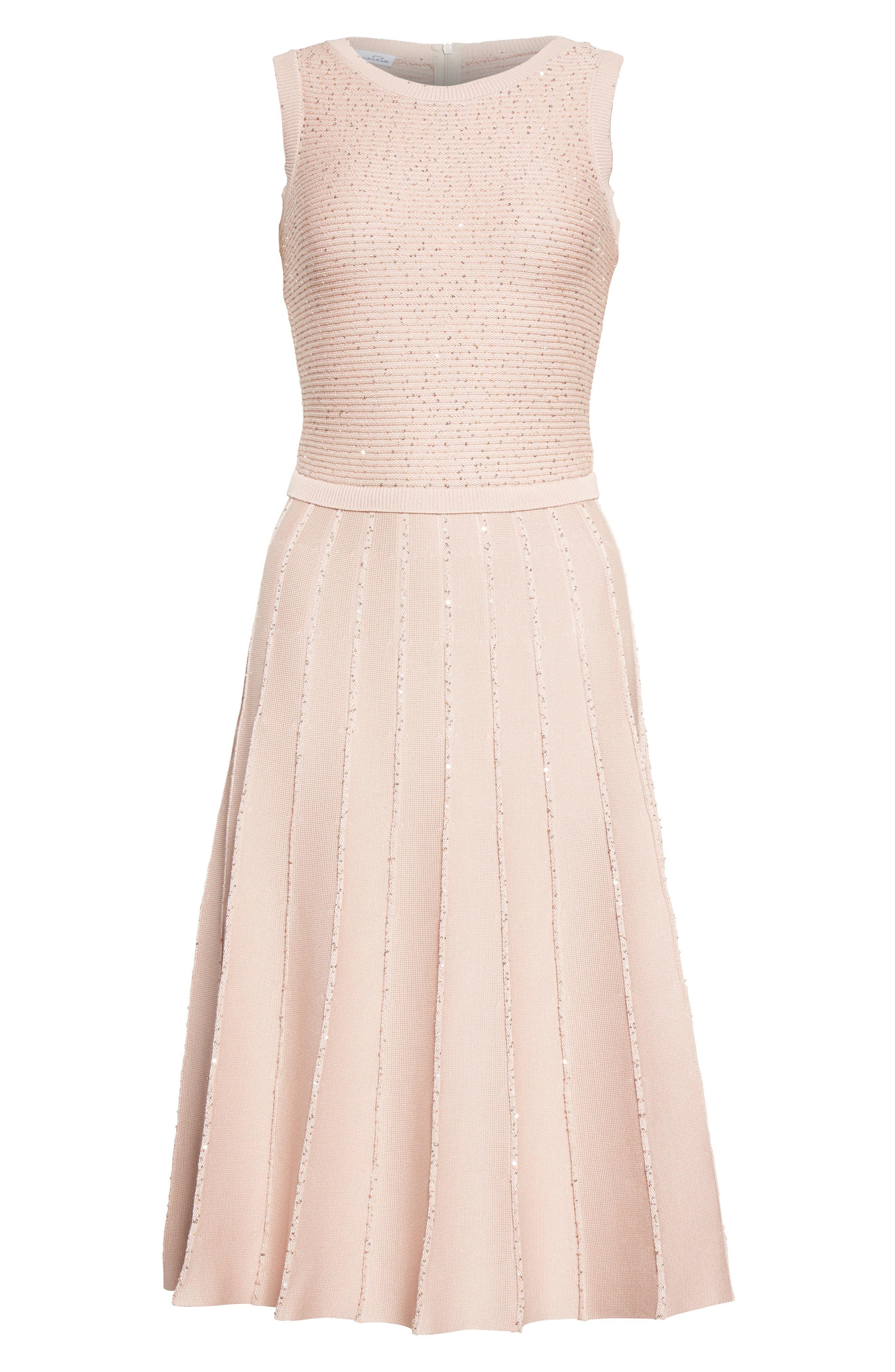 Alternate Image 4  - Oscar de la Renta Sparkle Knit Pleated Dress