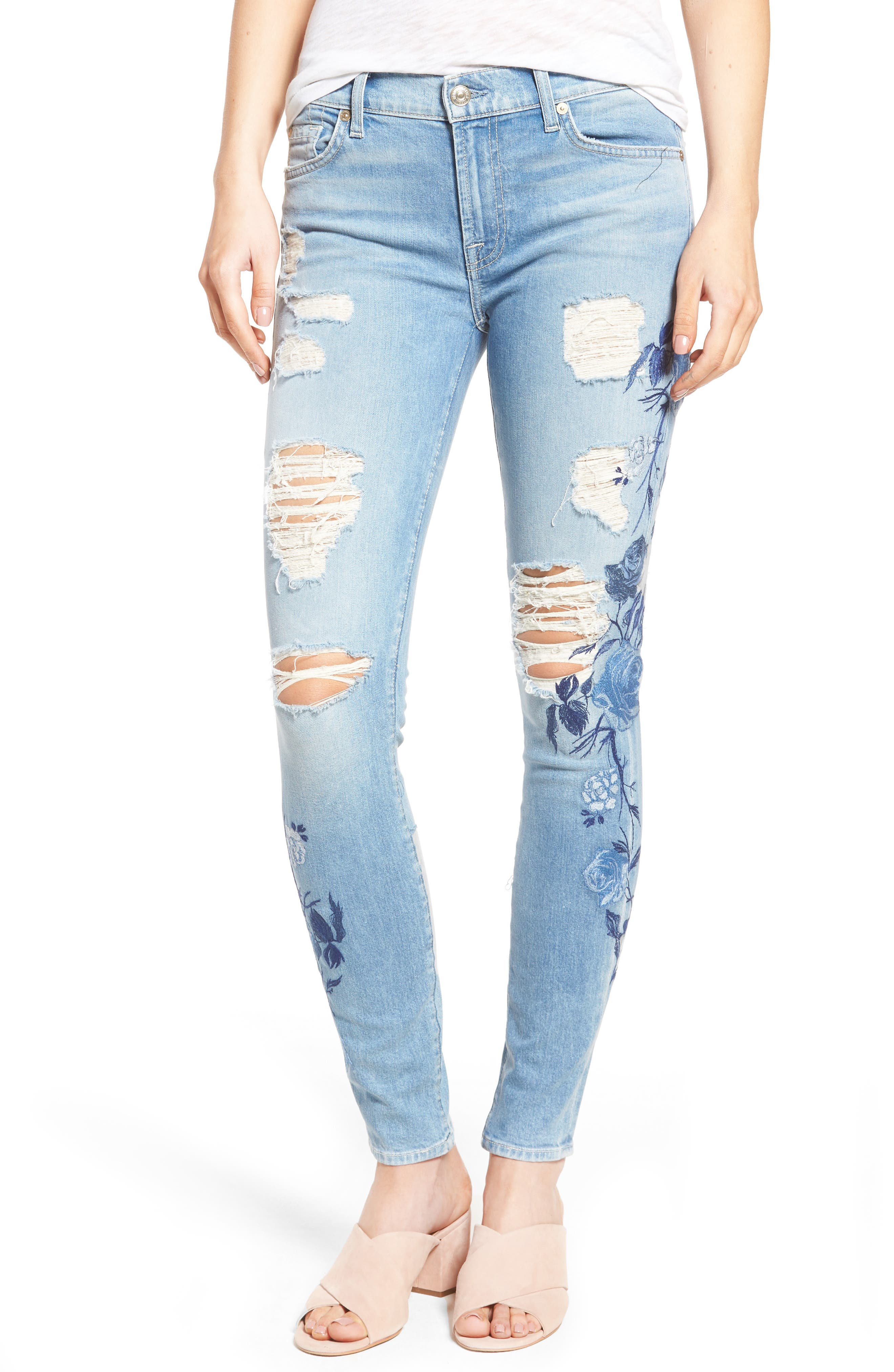 Main Image - 7 For All Mankind® Embroidered Ankle Skinny Jeans (Vintage Air Light)