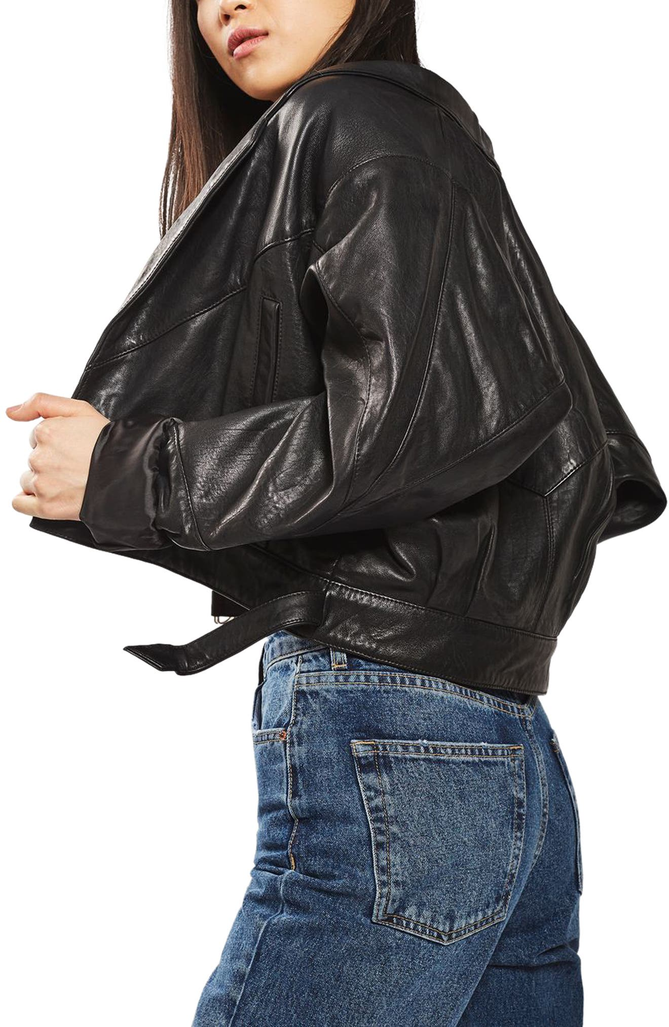Alternate Image 3  - Topshop Maggie Cropped Leather Jacket