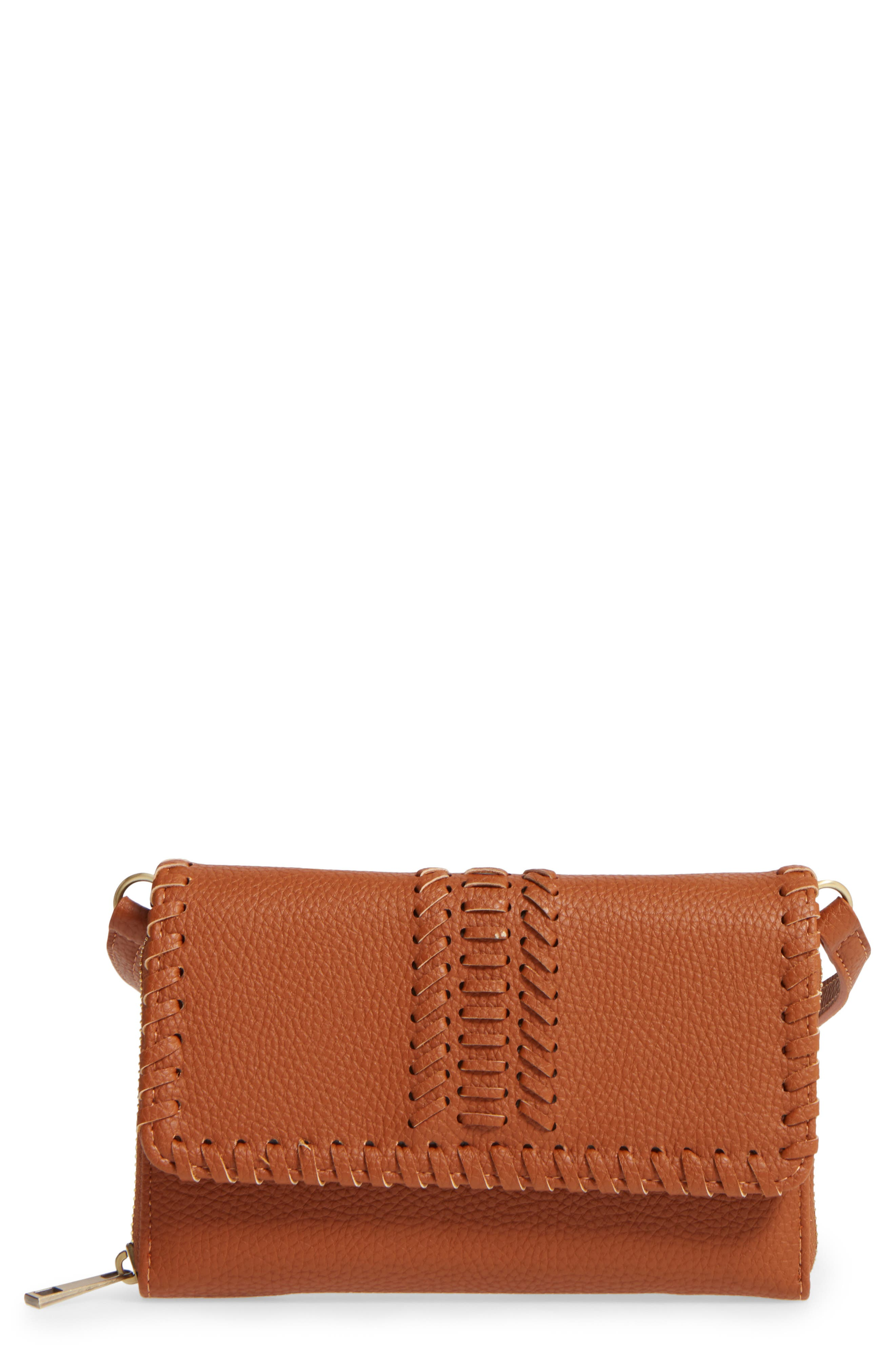 Street Level Saddle Stitch Convertible Faux Leather Crossbody Bag