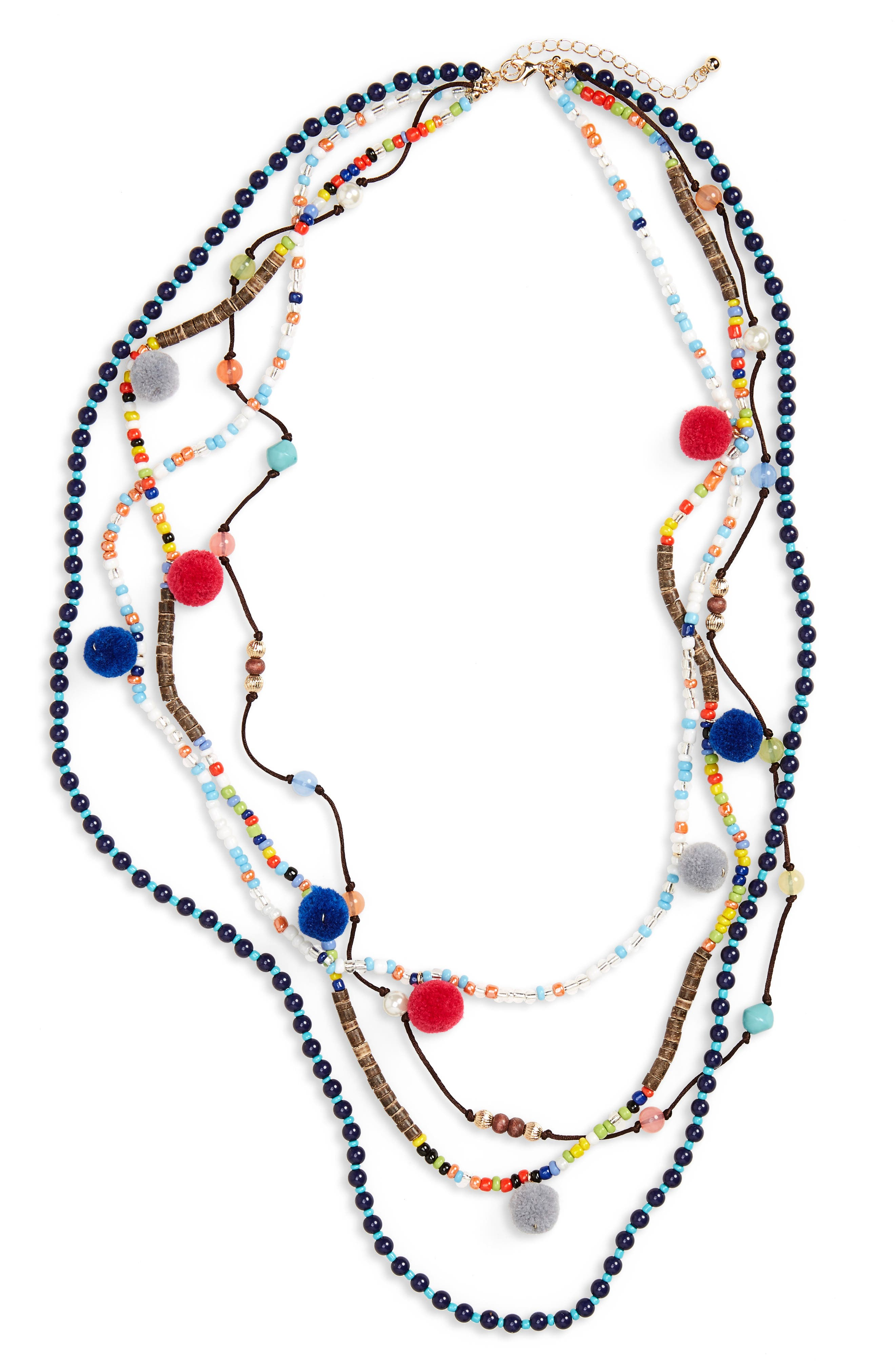 Panacea Multistrand Pompom Necklace