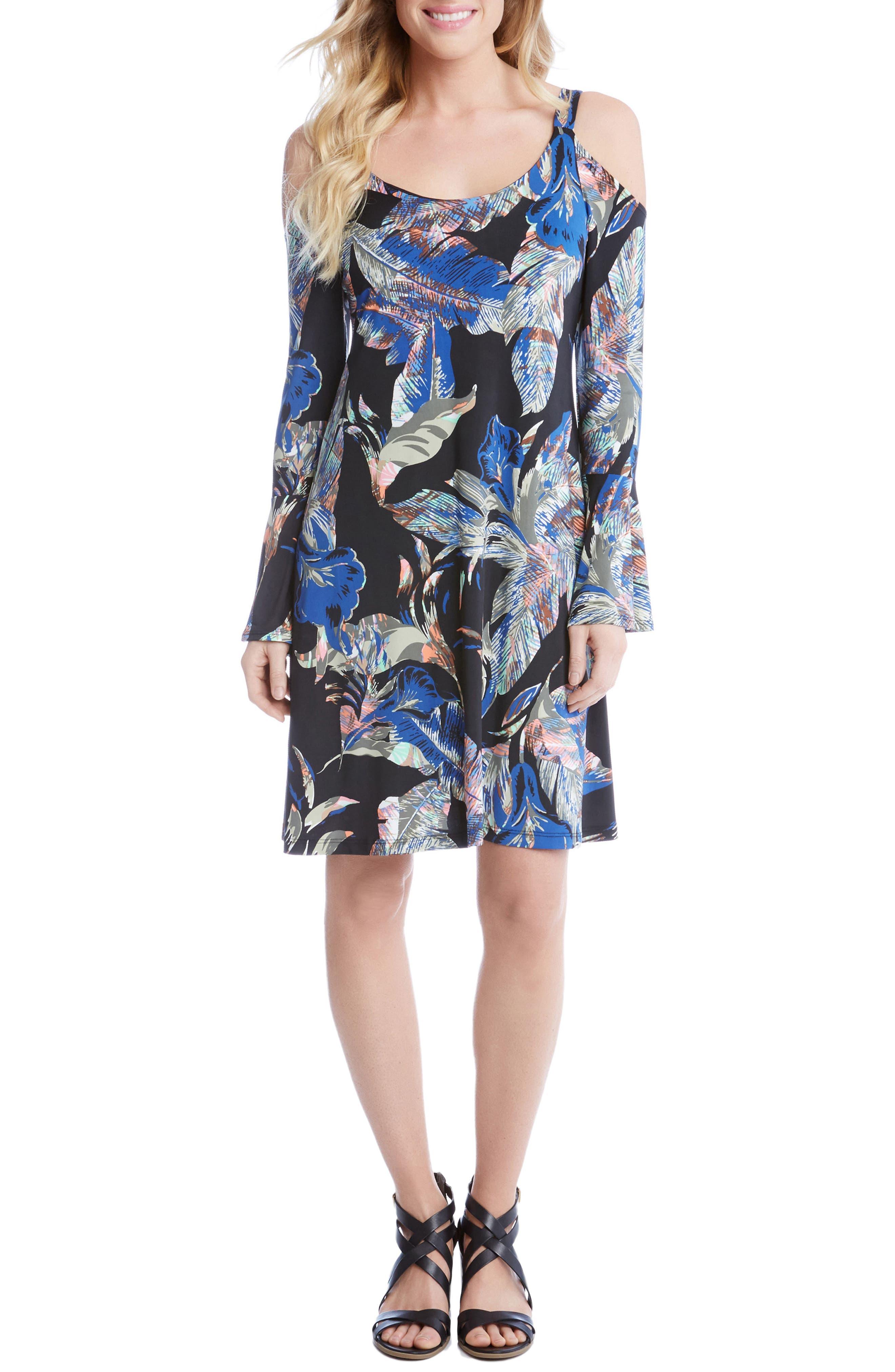 Karen Kane Cold Shoulder Bell Sleeve Shift Dress
