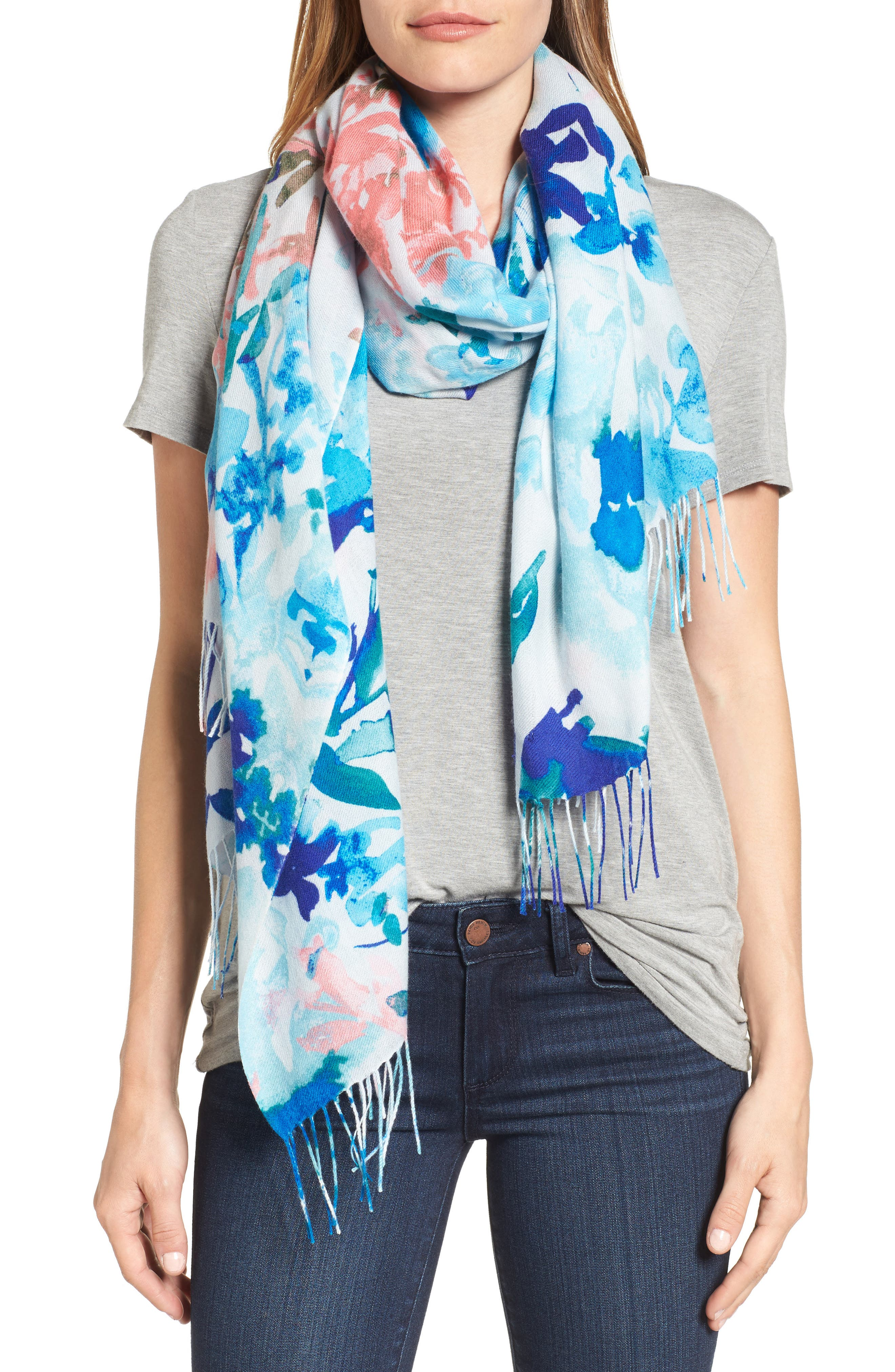 Nordstrom Tropical Camo Cashmere & Wool Scarf