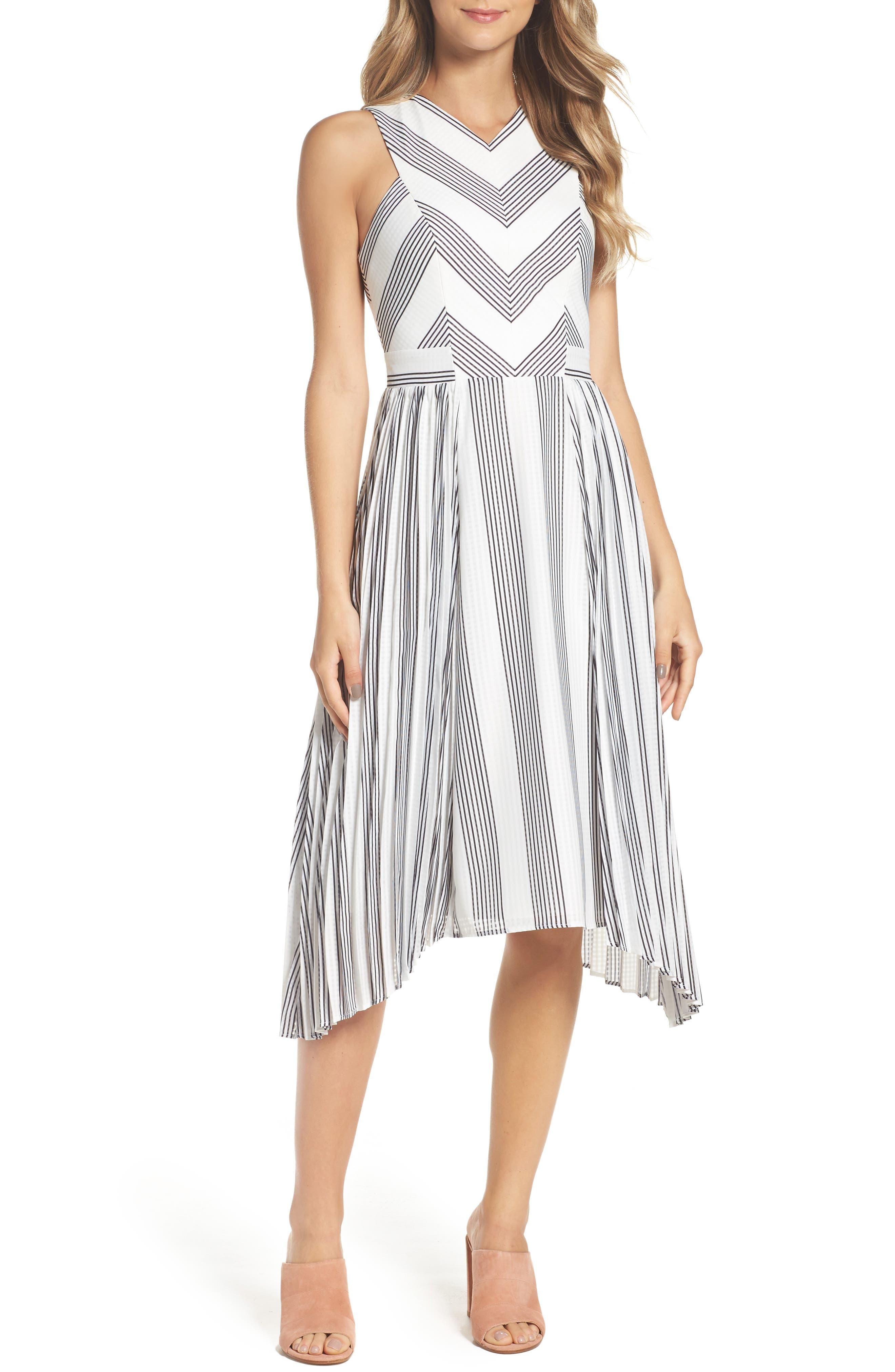 Adelyn Rae Vidette Pleated Stripe Midi Dress