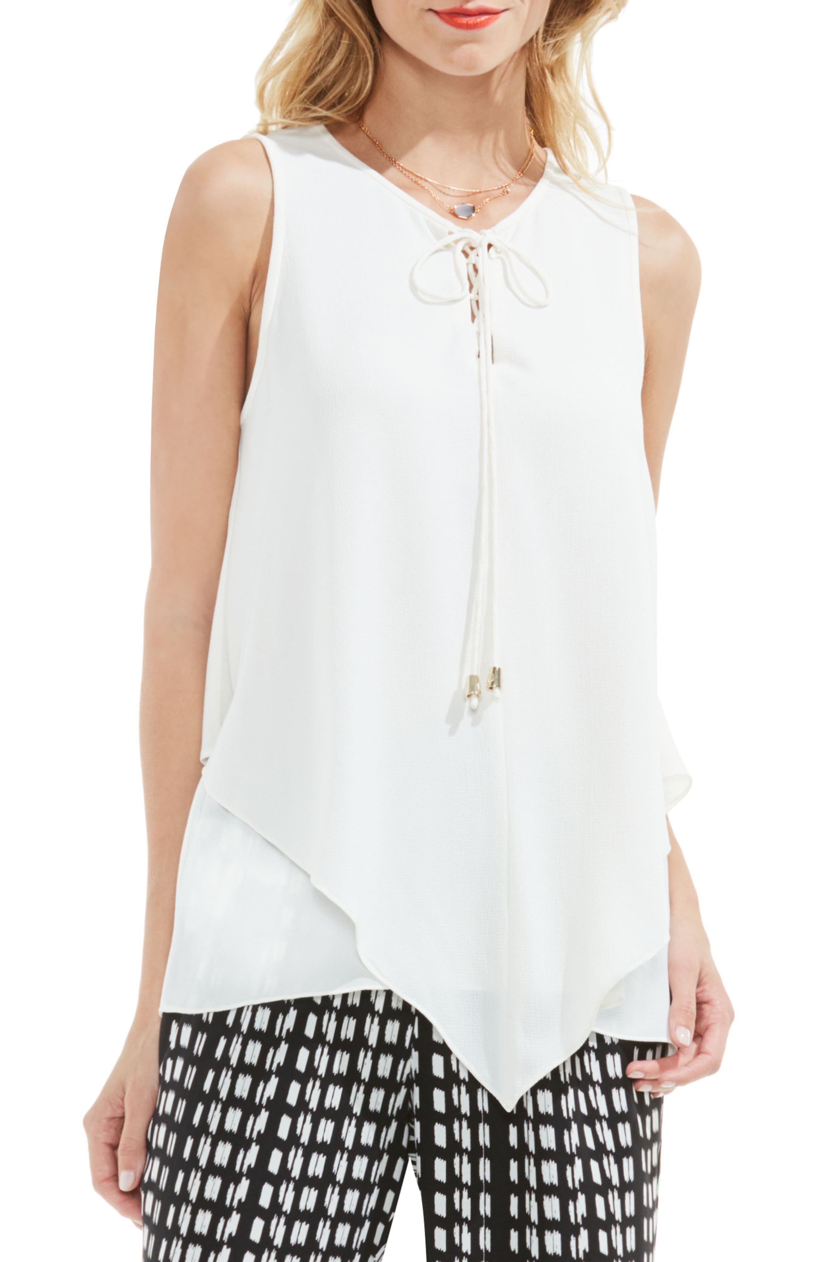 Vince Camuto Lace-Up Tiered Blouse (Regular & Petite)