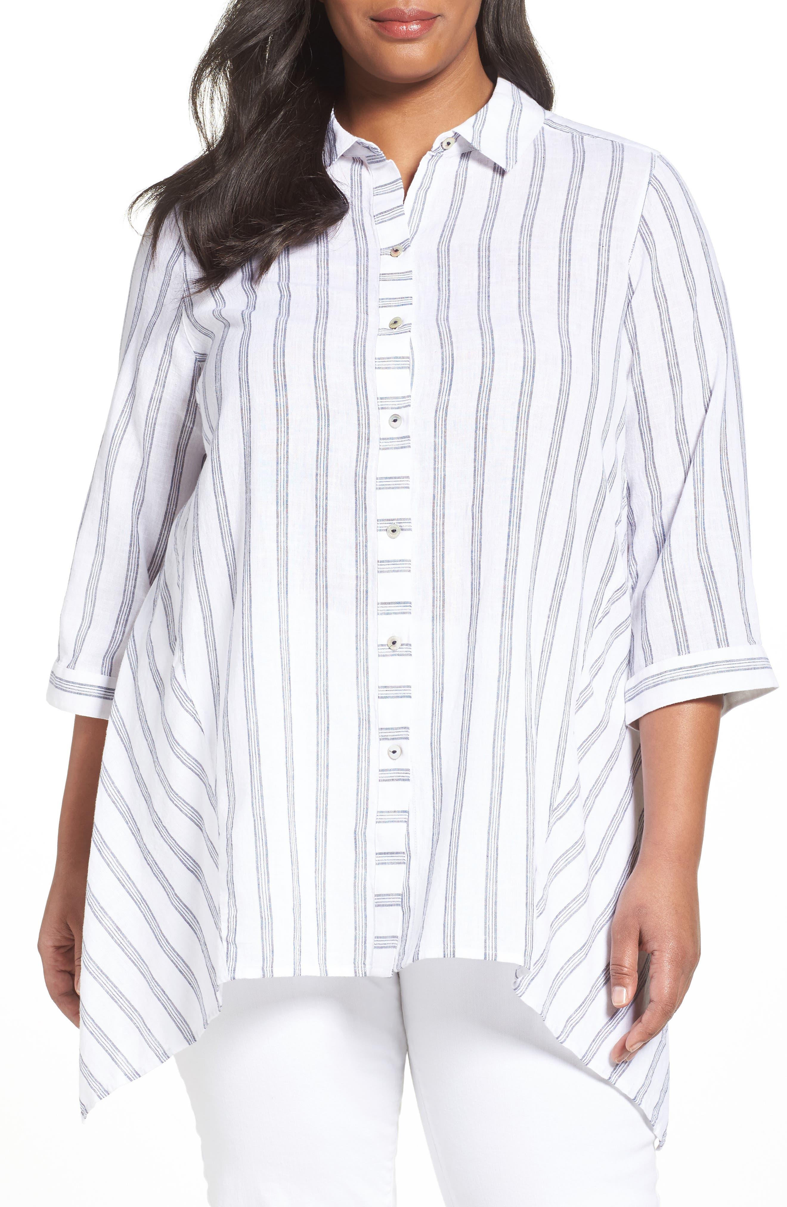 Foxcroft Remi Ticking Stripe Cotton & Linen Tunic (Plus Size)