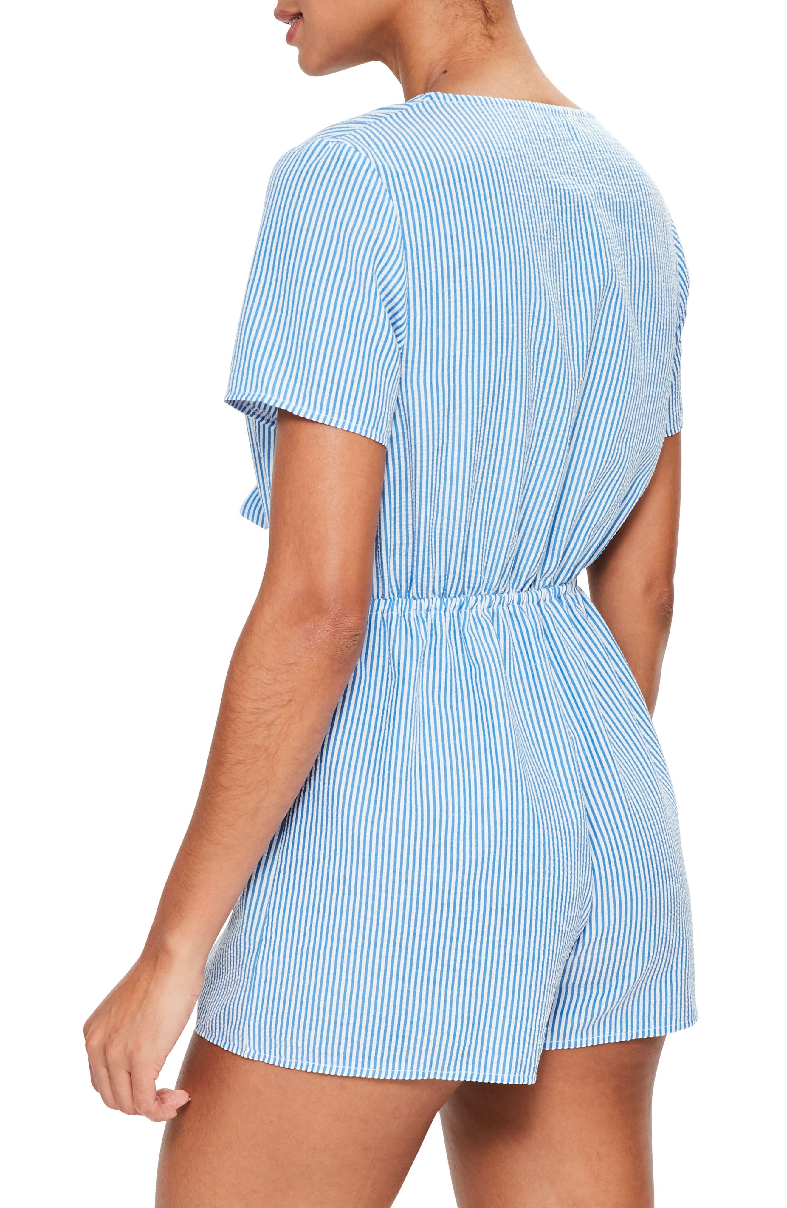 Alternate Image 2  - Missguided Stripe Tie Front Romper