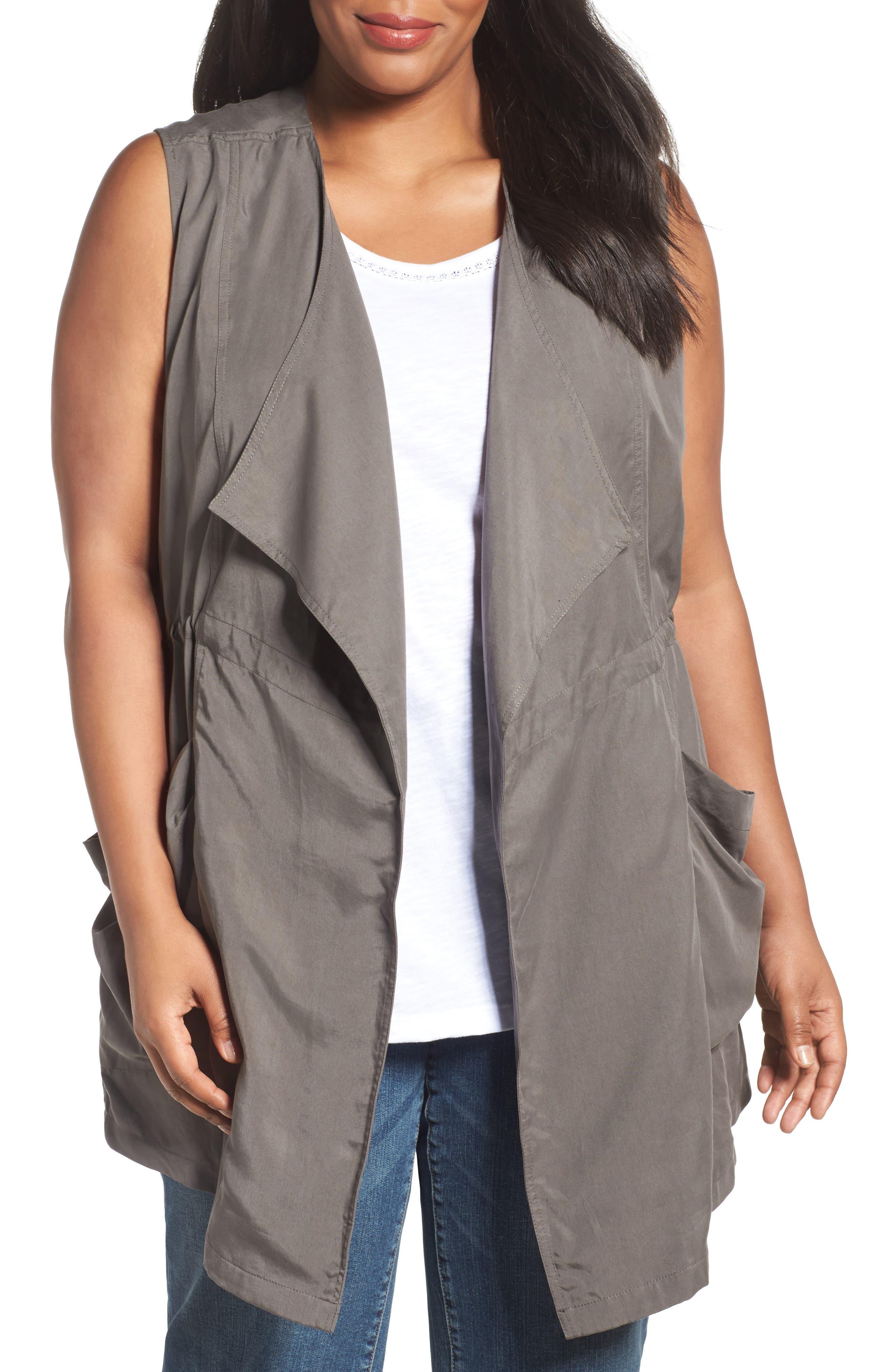 Caslon® Drape Front Vest (Plus Size)