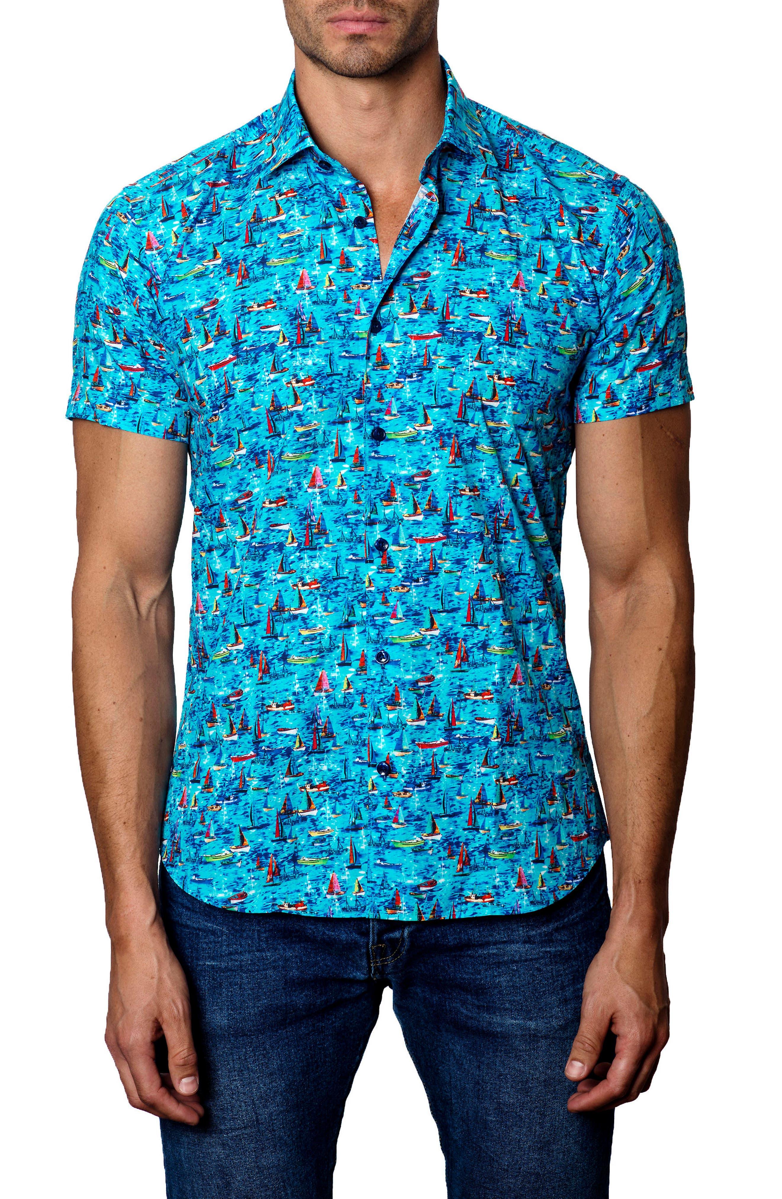 Jared Lang Trim Fit Sailboat Print Sport Shirt