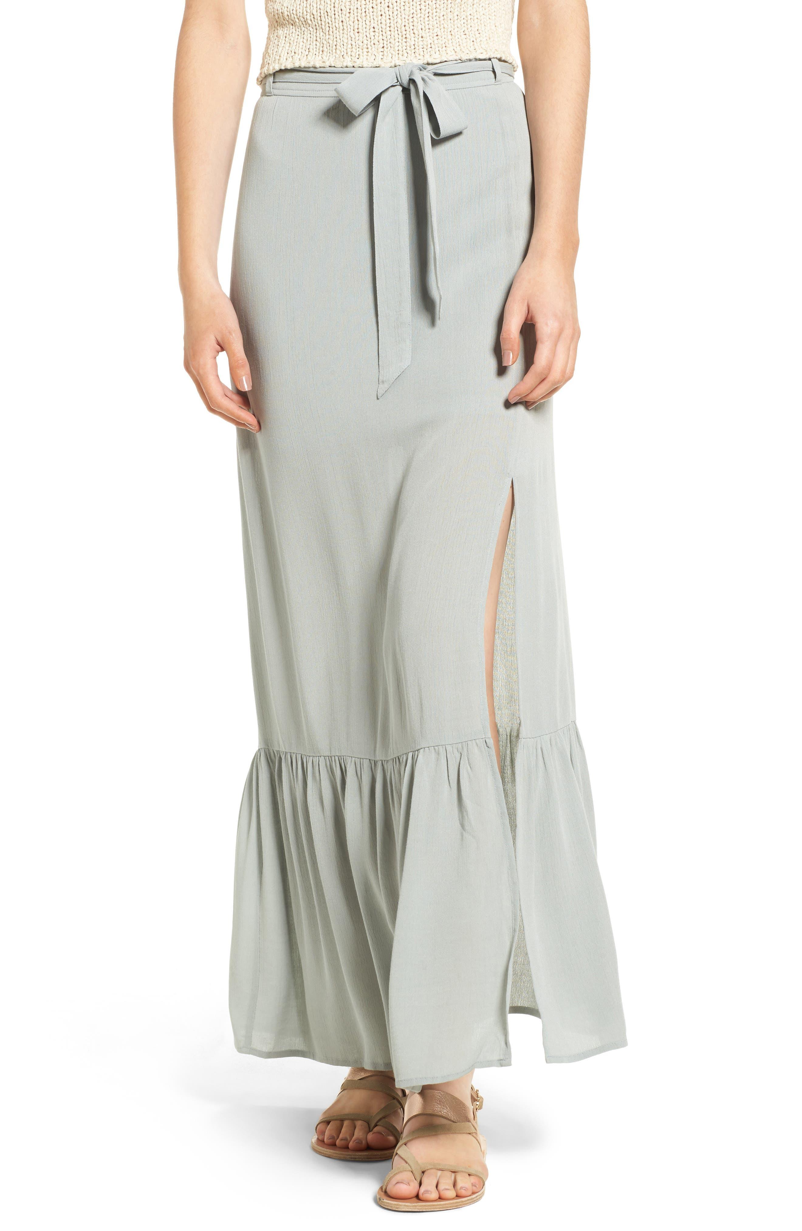 Sun & Shadow Ruffle Hem Woven Maxi Skirt