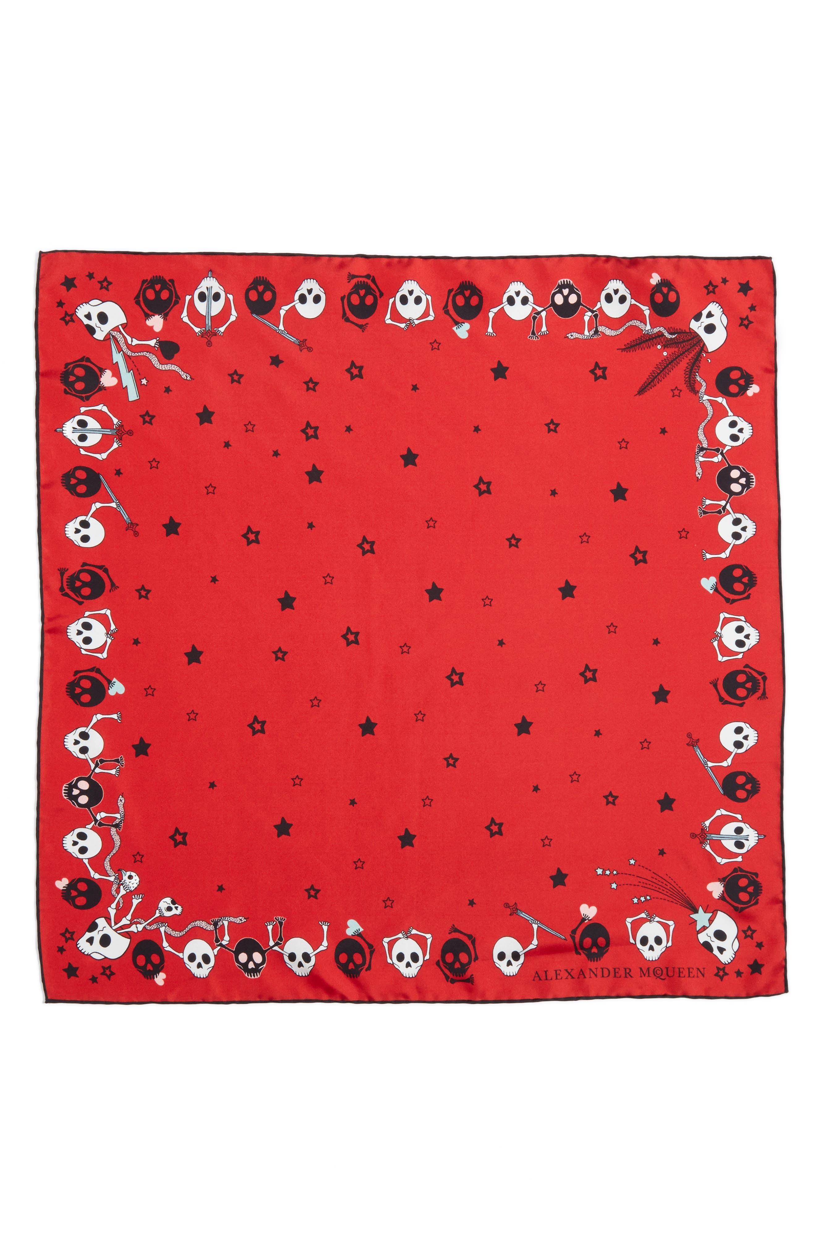 Alexander McQueen Party Skull Silk Square Scarf