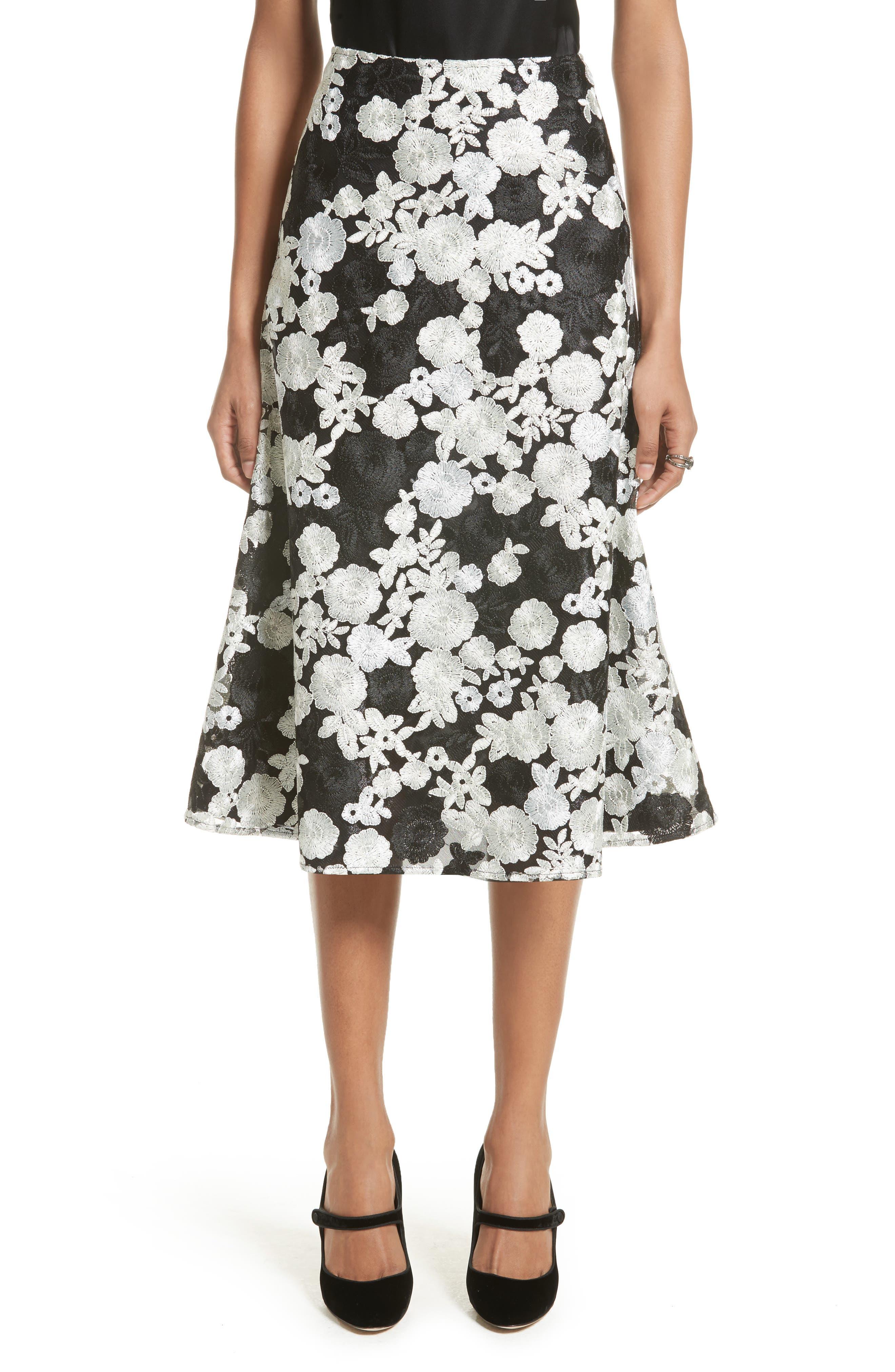 St. John Floral Embroidered Flared Skirt