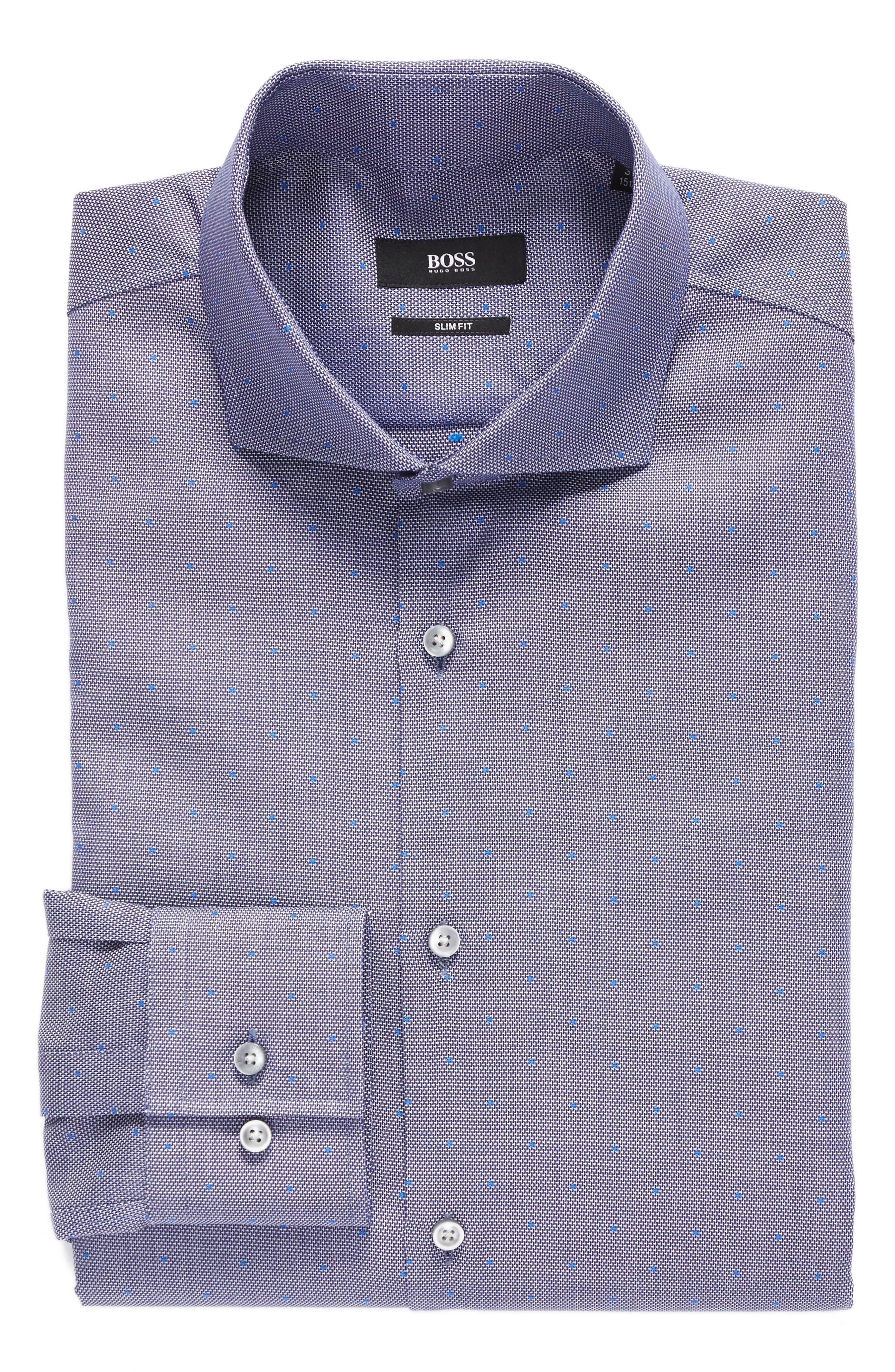 BOSS Slim Fit Microdot Dress Shirt