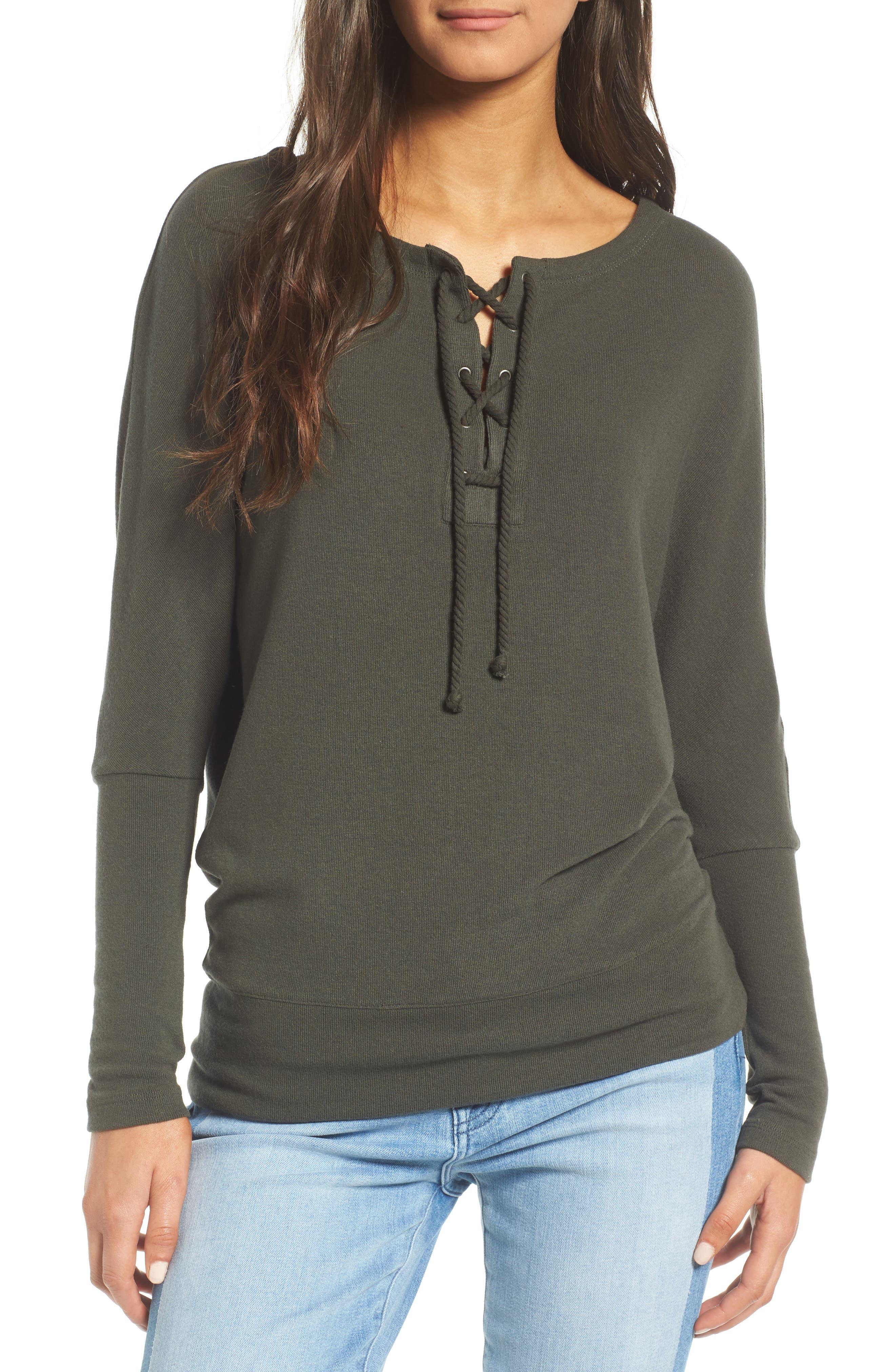 Main Image - cupcakes and cashmere Danton Lace-Up Sweatshirt