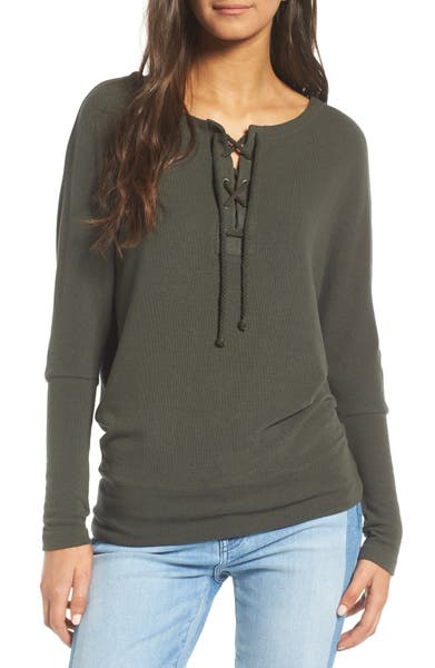 Main Image - cupcakes and cashmere Danton Lace-Up Sweatshirt