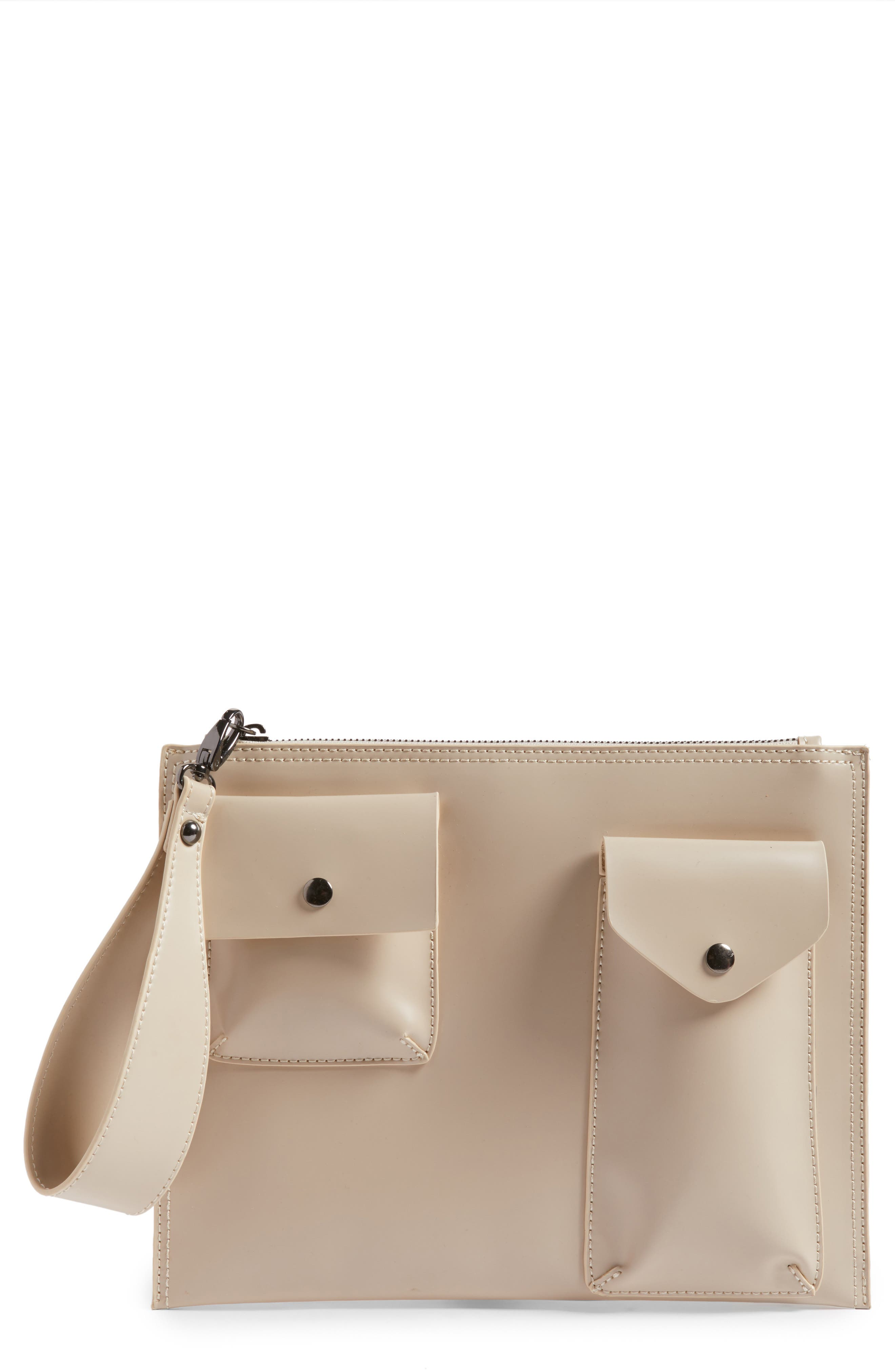 BP. Pocket Front Faux Leather Clutch