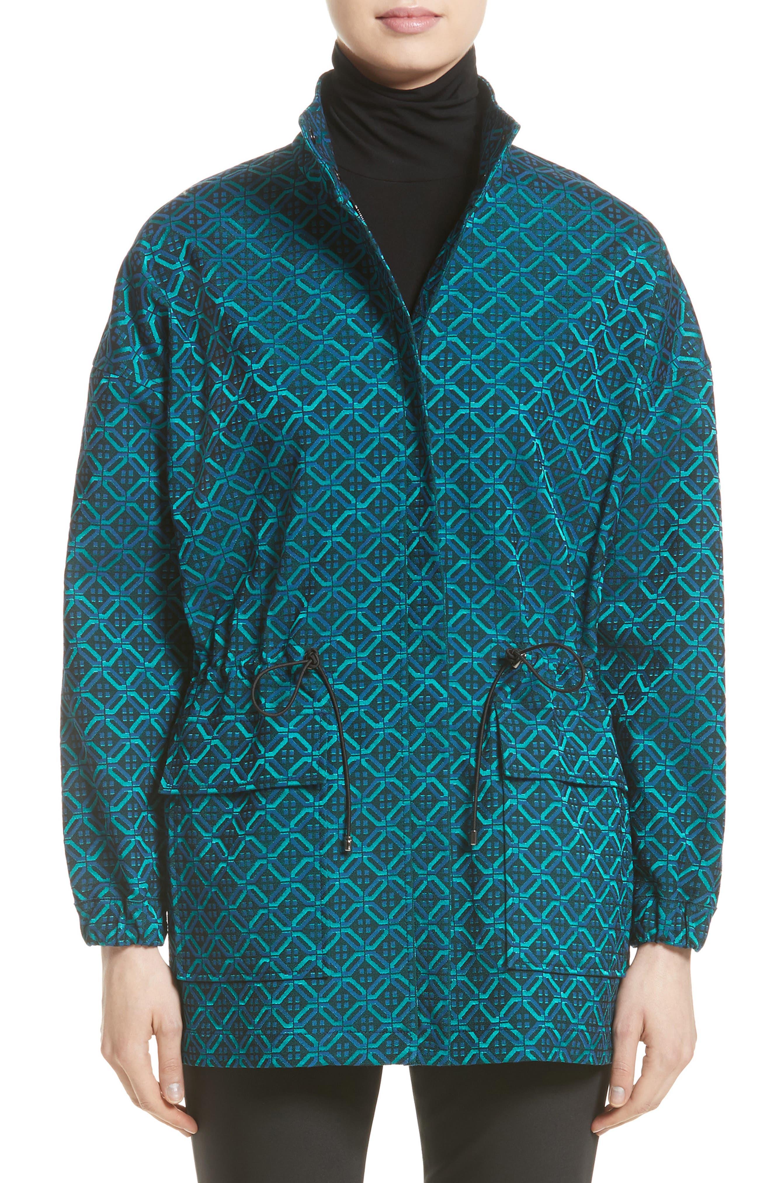 St. John Collection Tile Jacquard Funnel Neck Jacket
