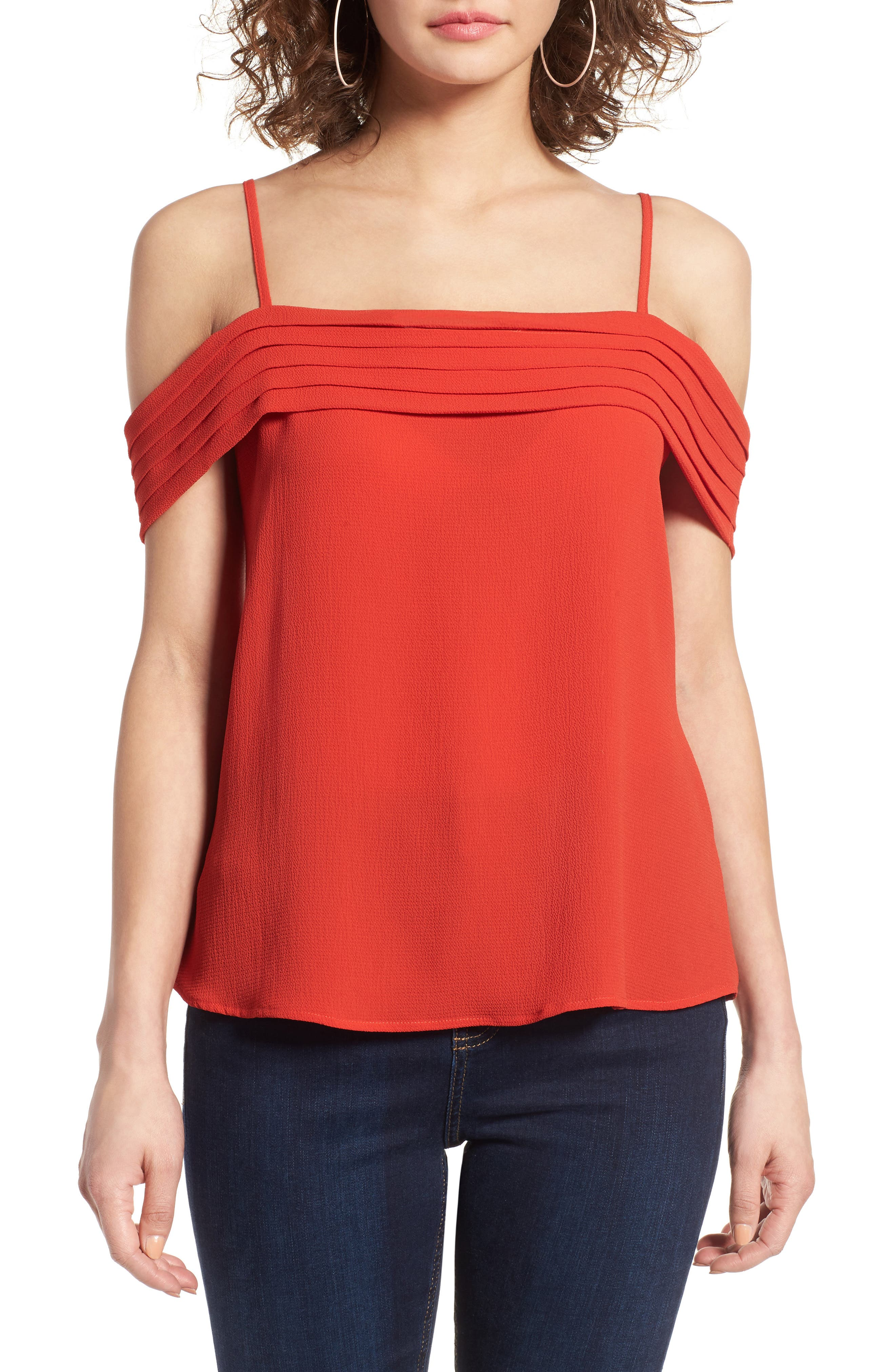 BP. Pleated Cold Shoulder Top