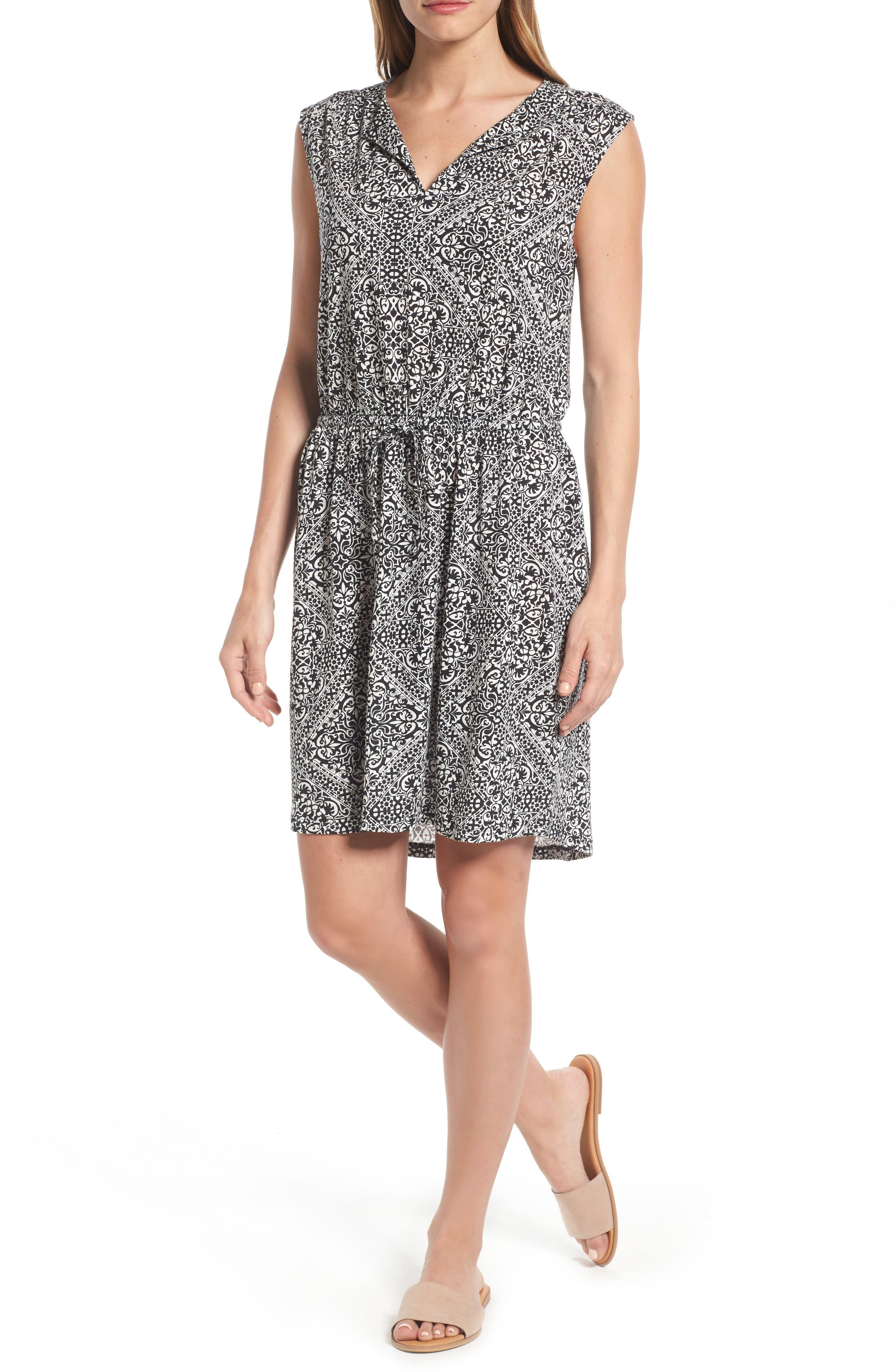 Caslon® Split Neck Cotton & Modal Knit Blouson Dress (Regular & Petite)