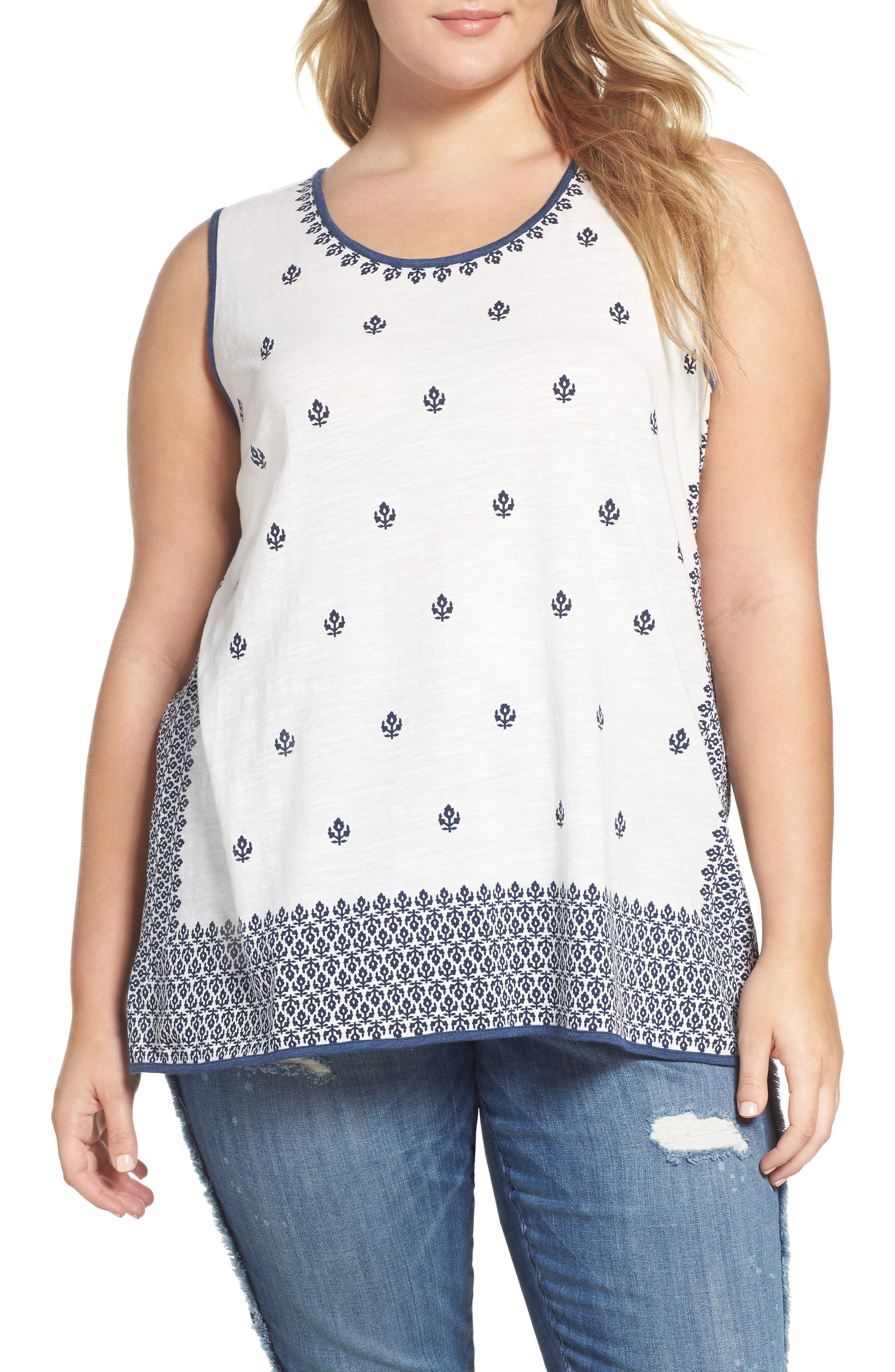 Two by Vince Camuto Kashmiri Tile Print Tank