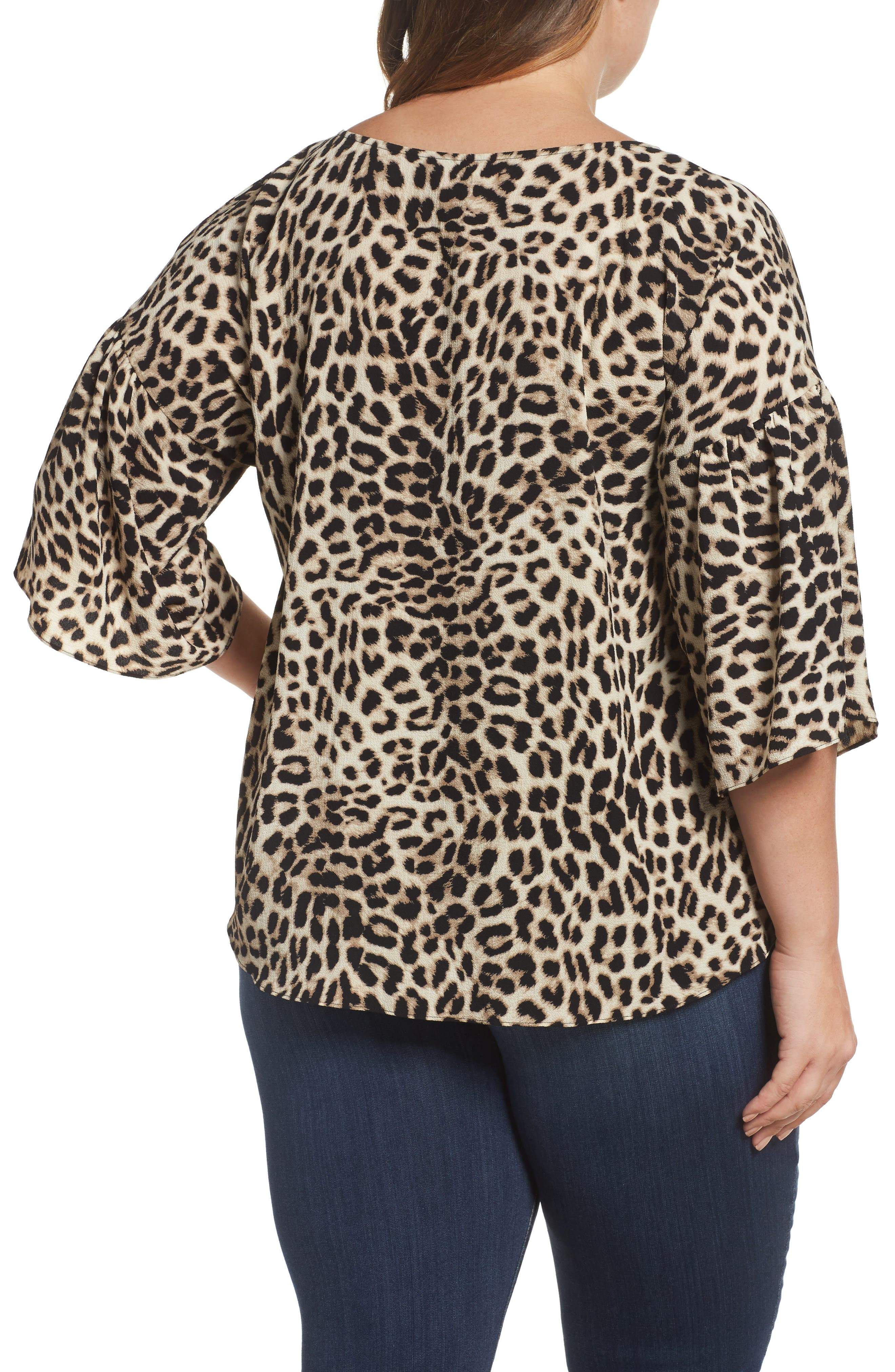Alternate Image 2  - Vince Camuto Leopard Song Bell Sleeve Blouse (Plus Size)