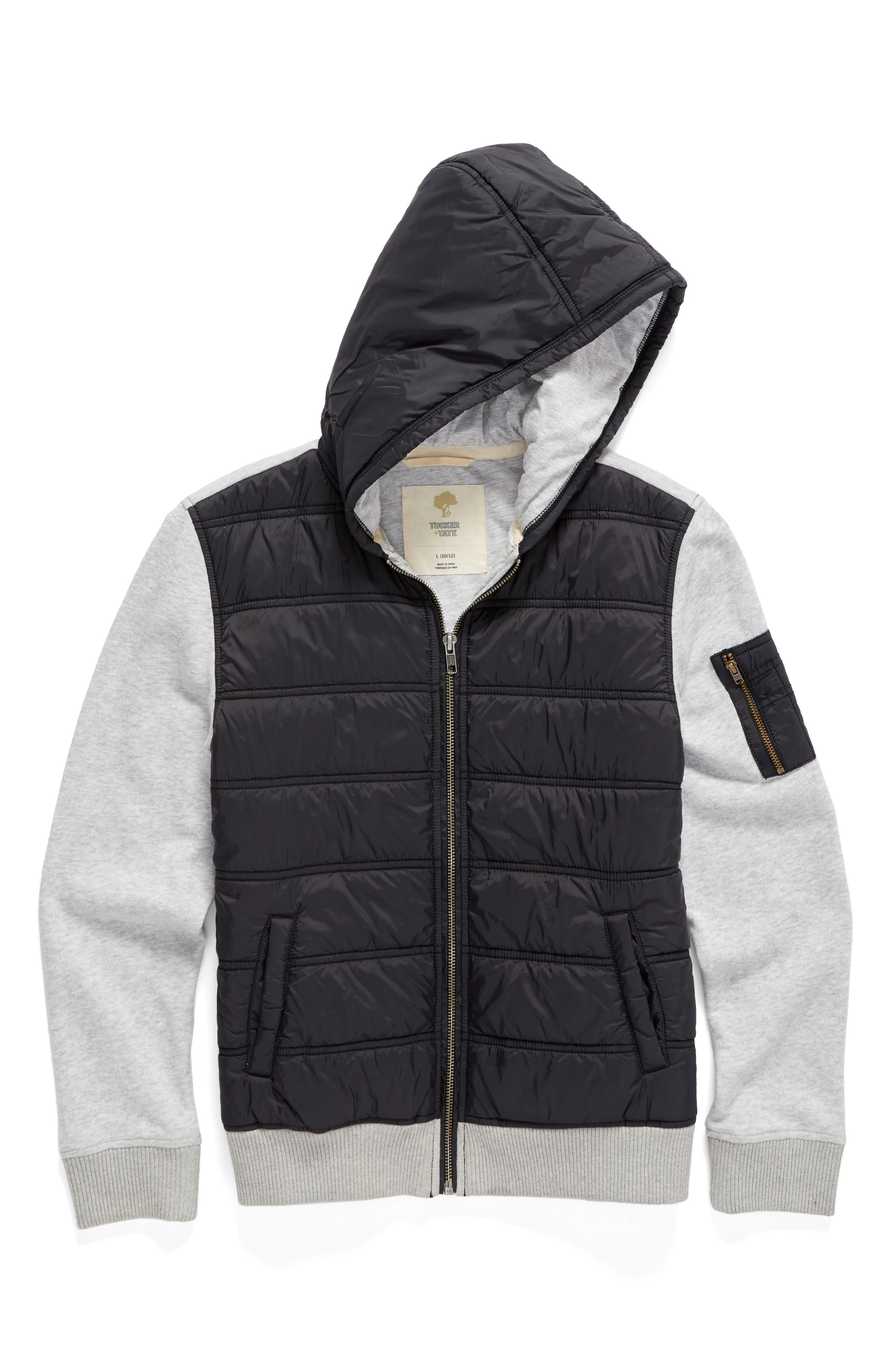Tucker + Tate Quilted Nylon & Knit Jacket (Big Boys)