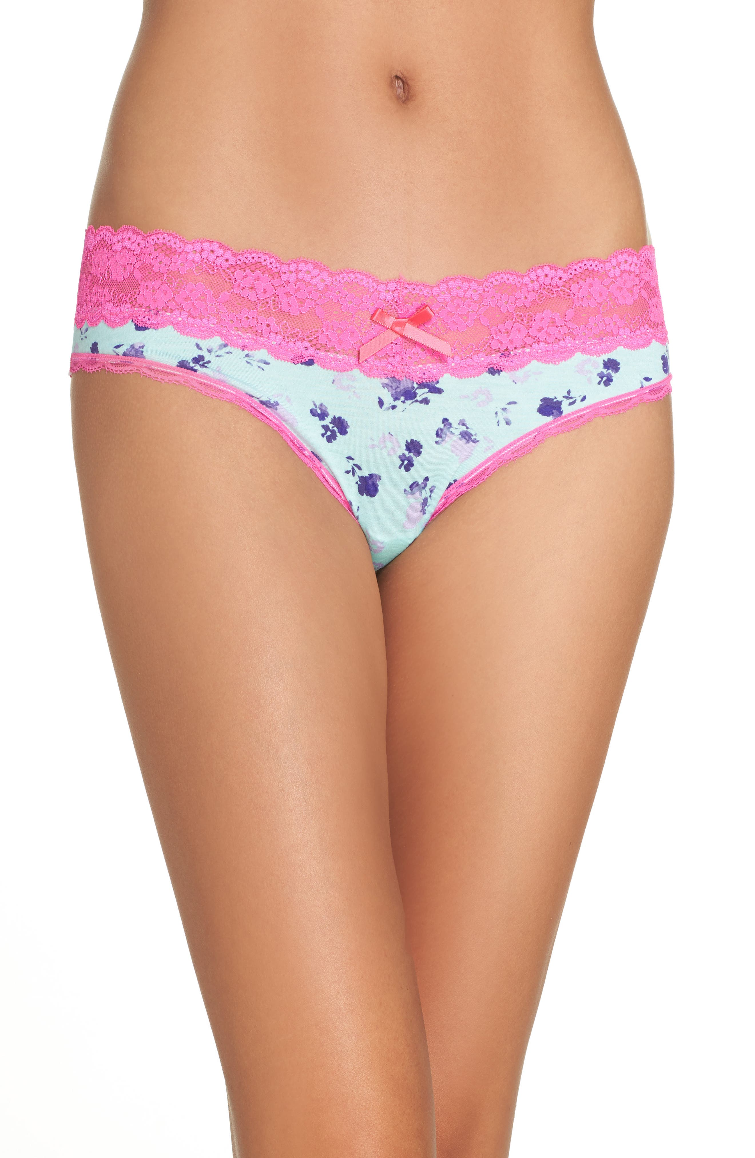 Alternate Image 1 Selected - Honeydew Intimates Lace Trim Low Rise Thong (4 for $30)