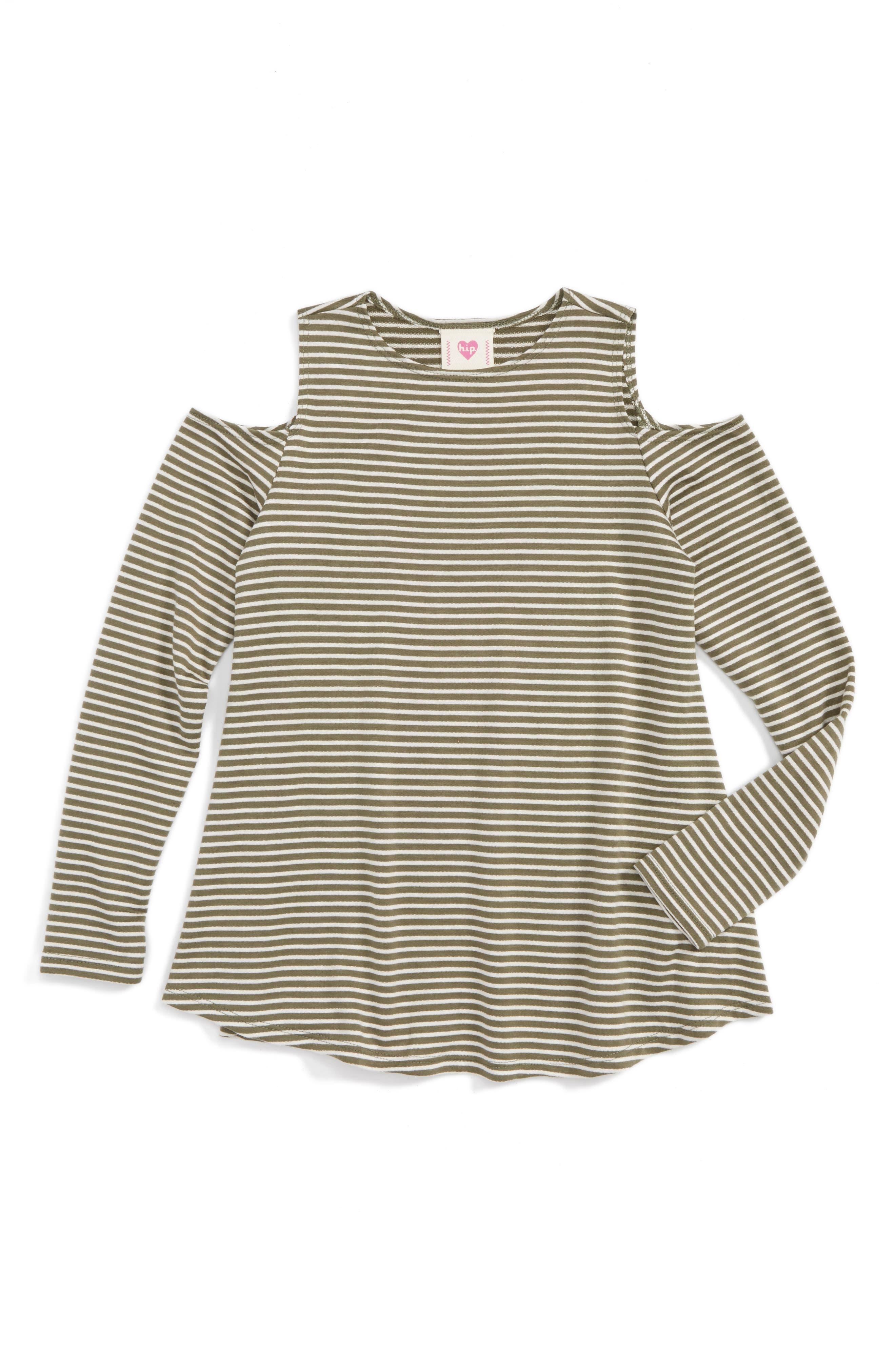 h.i.p. Stripe Cold Shoulder Tee (Big Girls)