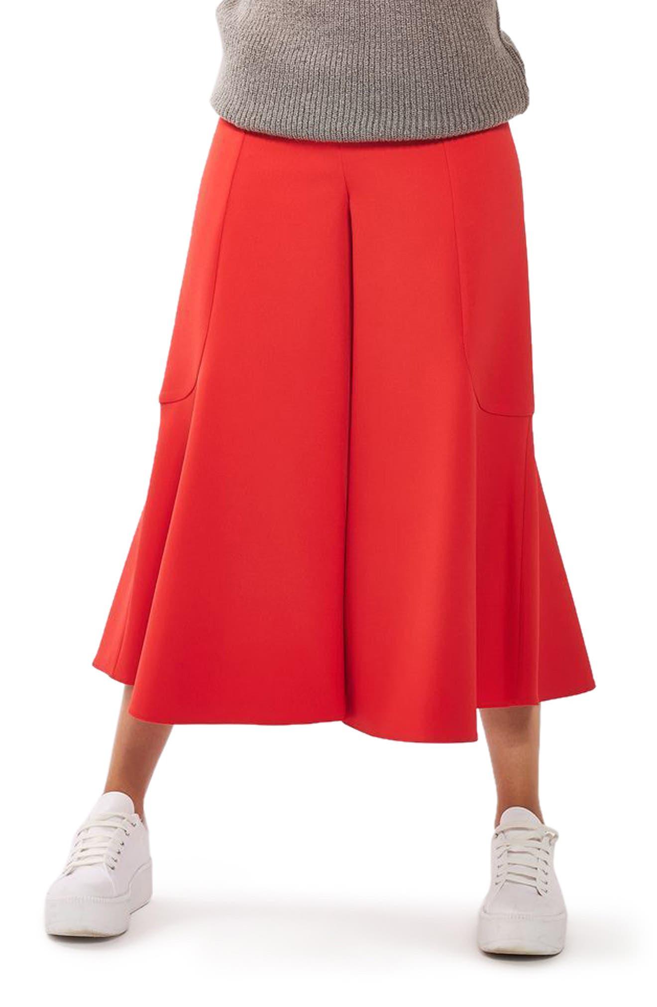 Main Image - Topshop Meg Zip Frill Palazzo Trousers