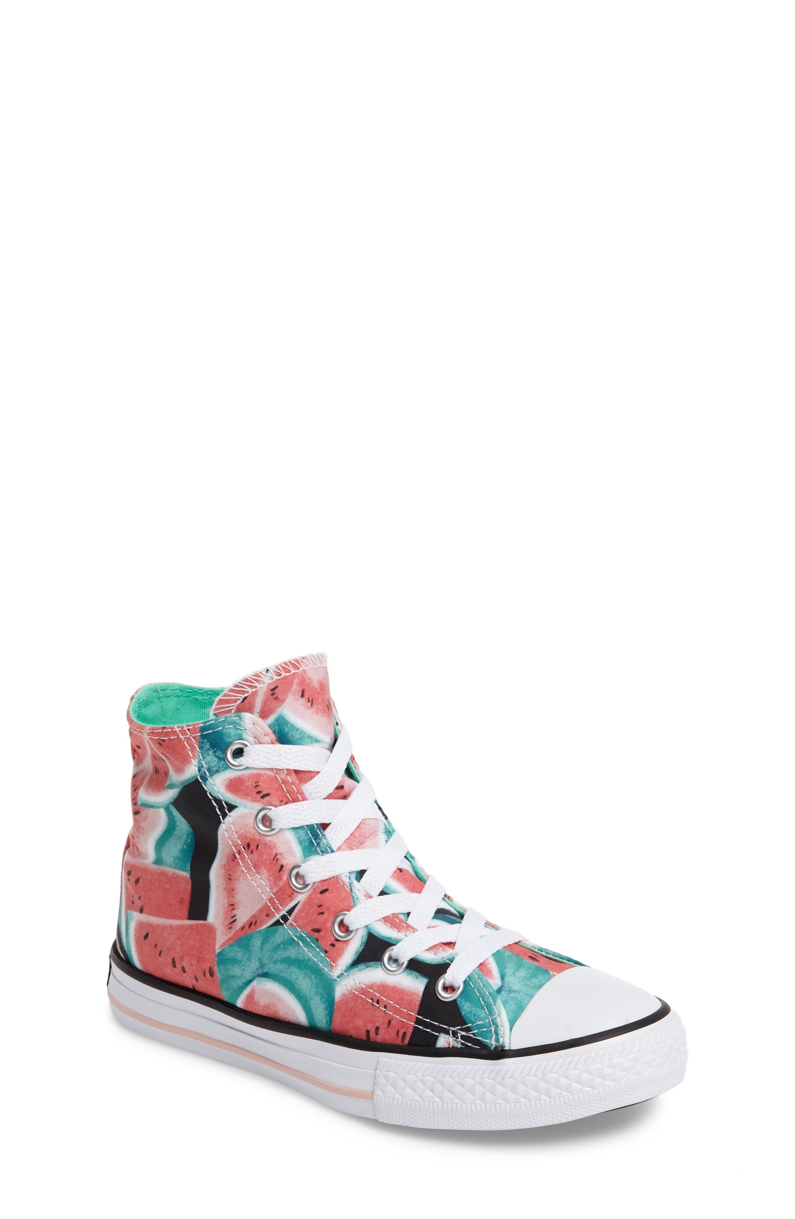 Chuck Taylor® All Star® Watermelon Print High Top Sneaker (Toddler & Little Kid)