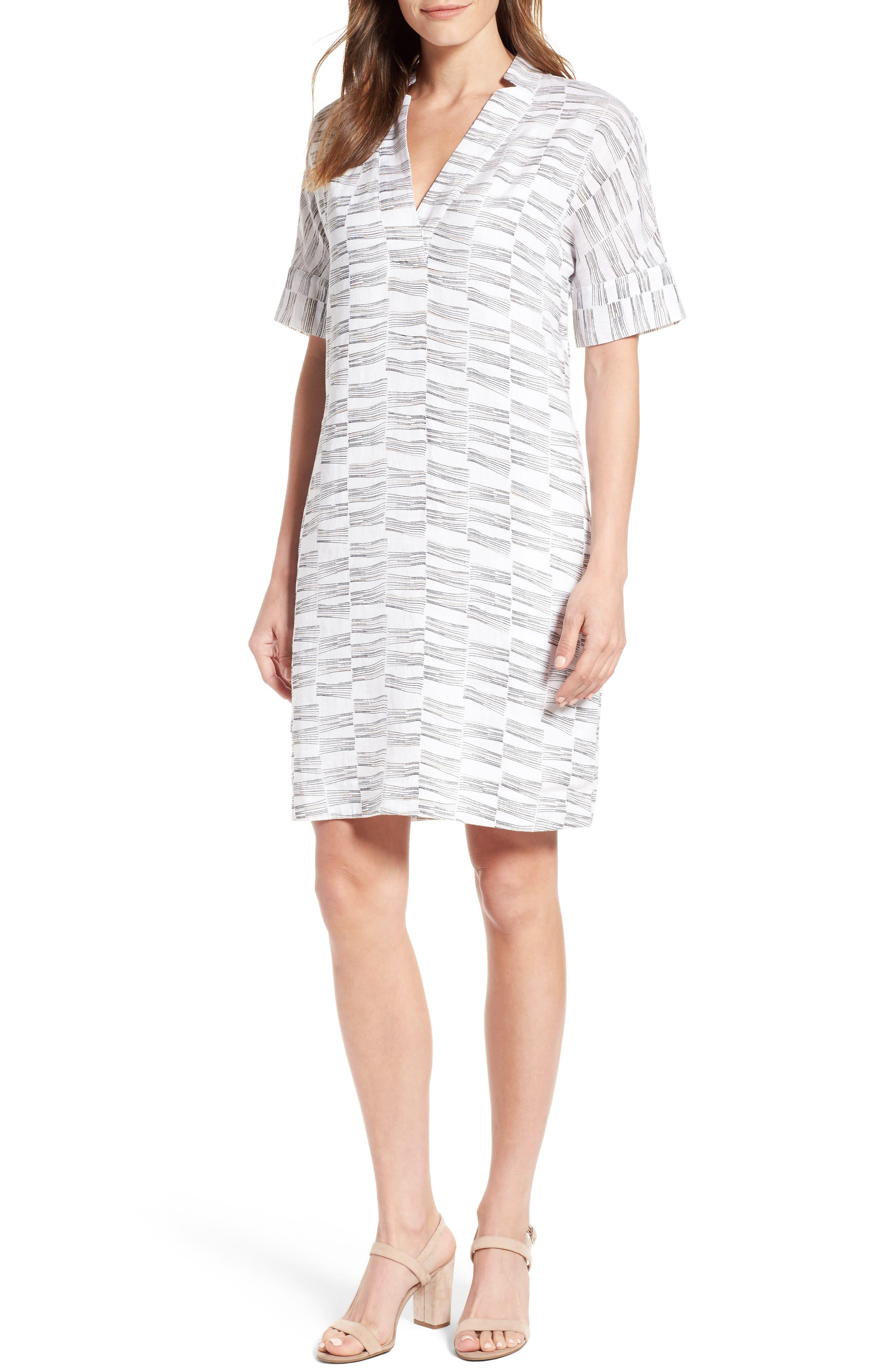 NIC+ZOE Little Lines Linen Shift Dress