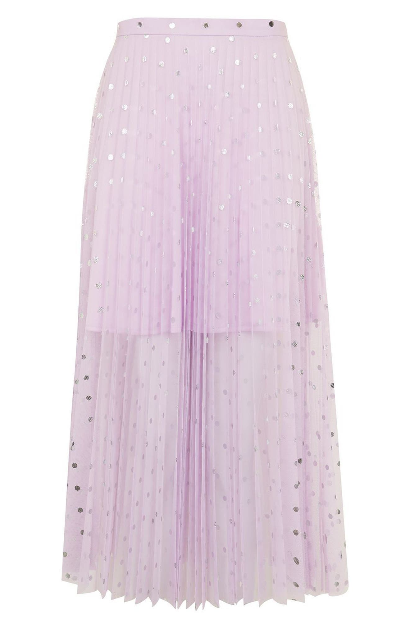 Alternate Image 4  - Topshop Foil Dot Pleat Midi Skirt