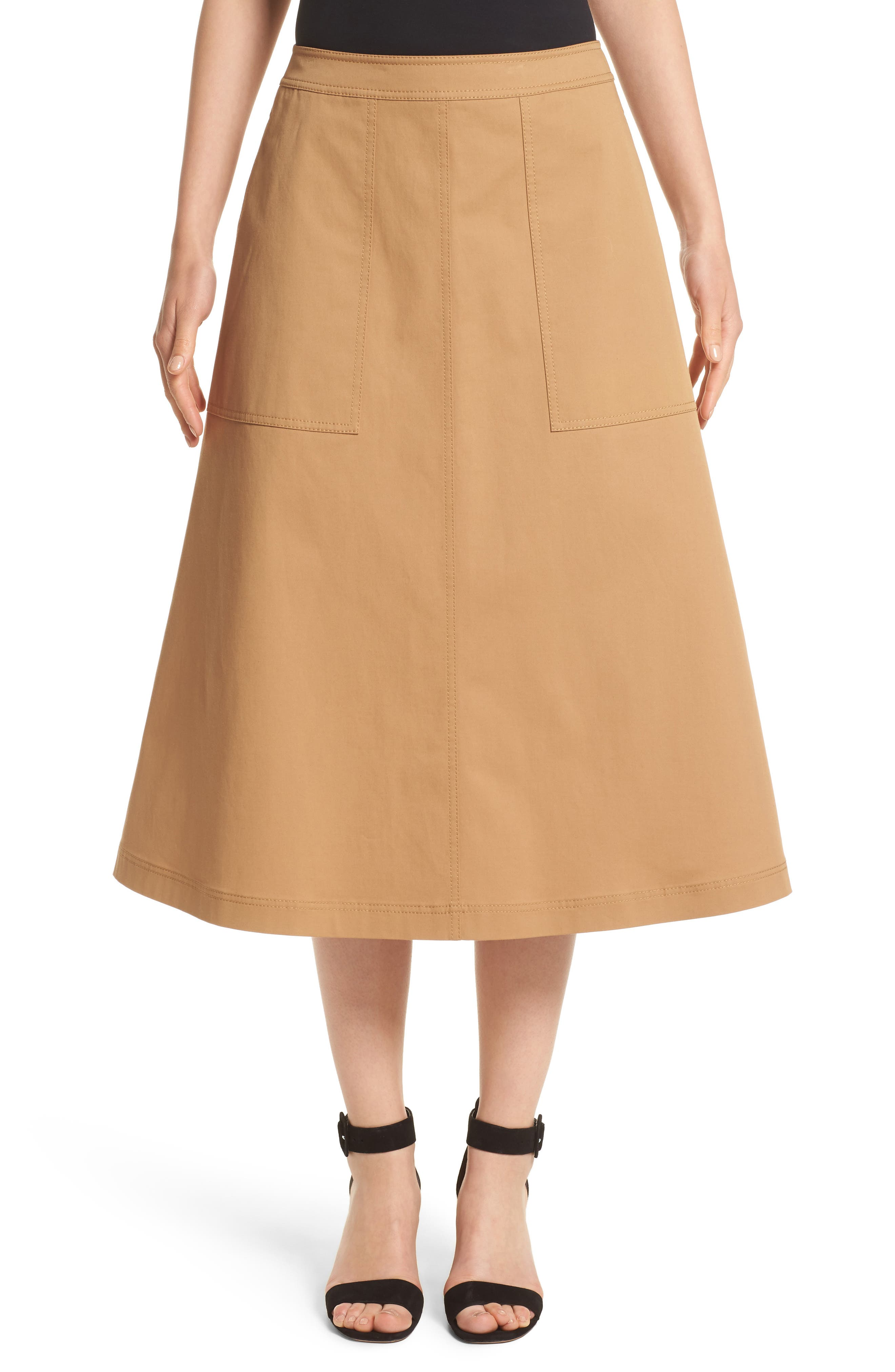 Lafayette 148 New York Rosella Stretch Cotton Midi Skirt | Nordstrom