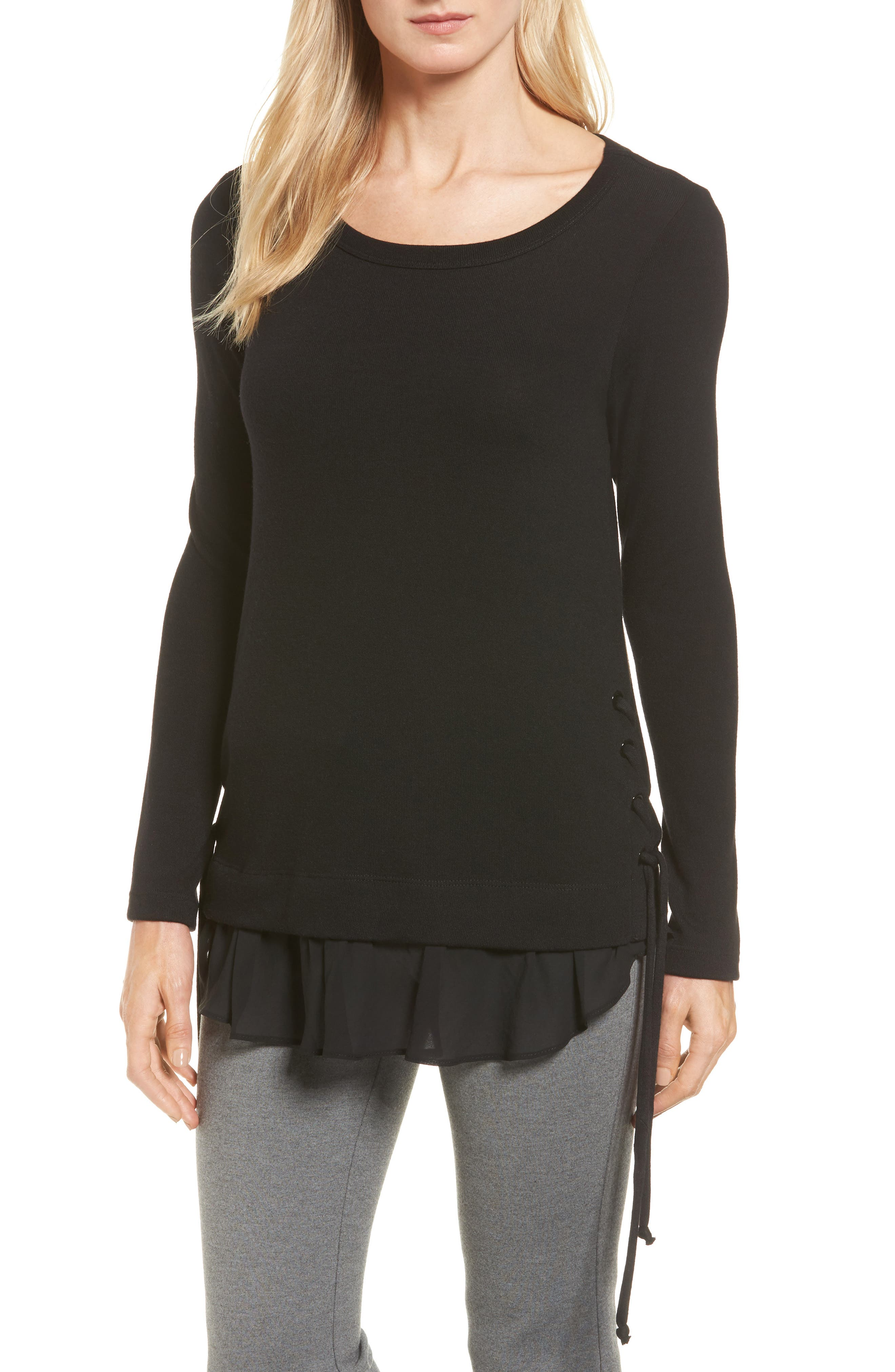 Karen Kane Layer Look Lace-Up Sweater