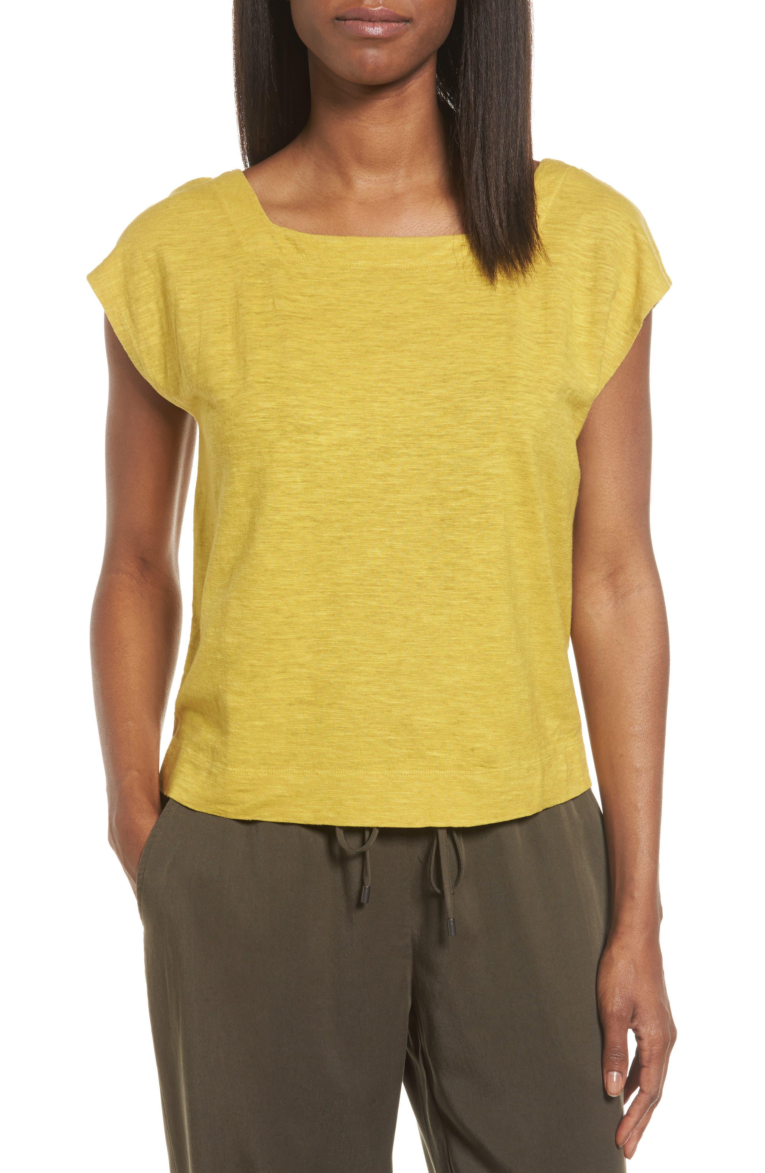 Eileen Fisher Hemp & Organic Cotton Knit Crop Top (Regular & Petite)