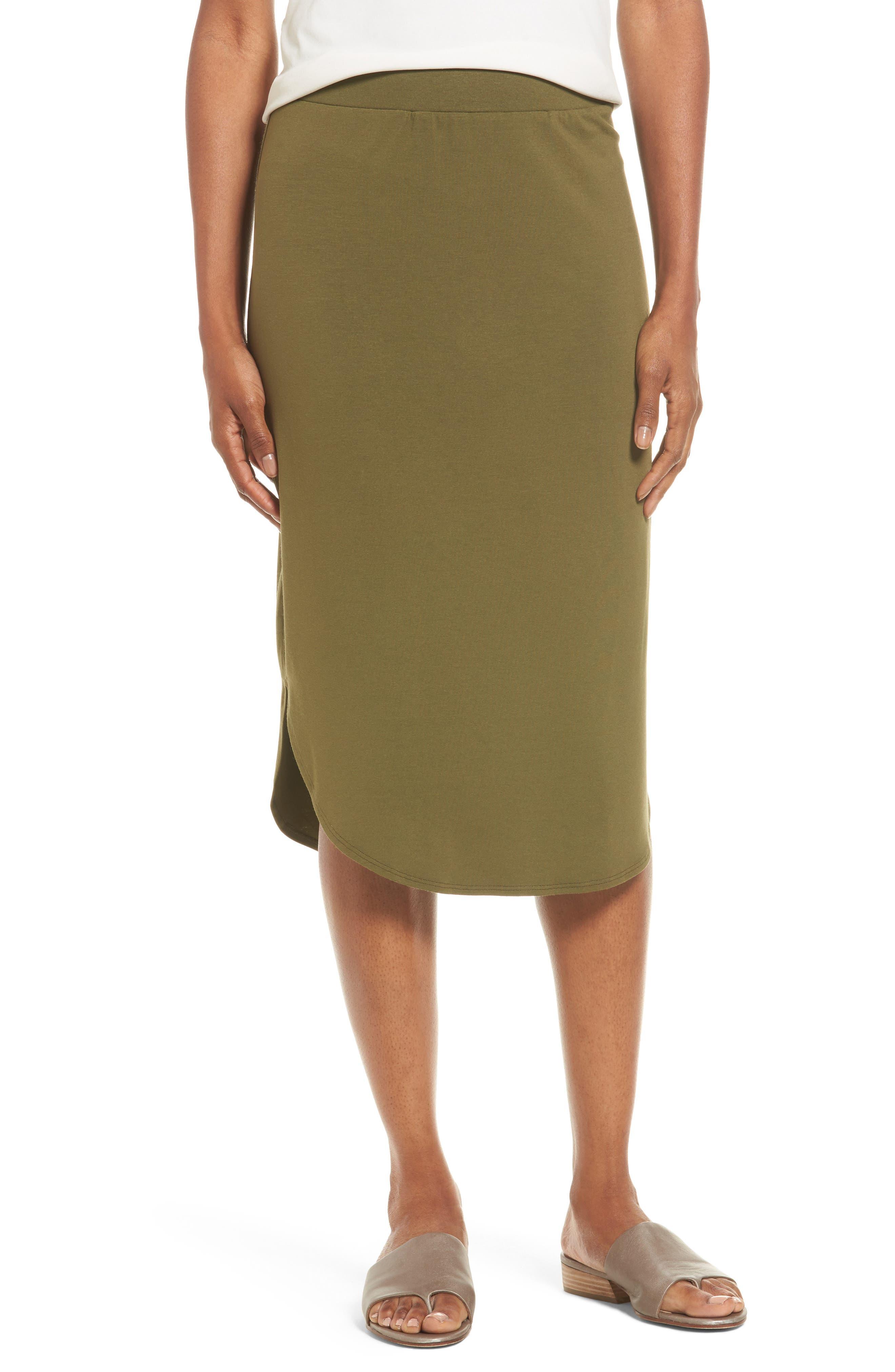 Eileen Fisher Jersey Shirttail Hem Skirt (Regular & Petite)