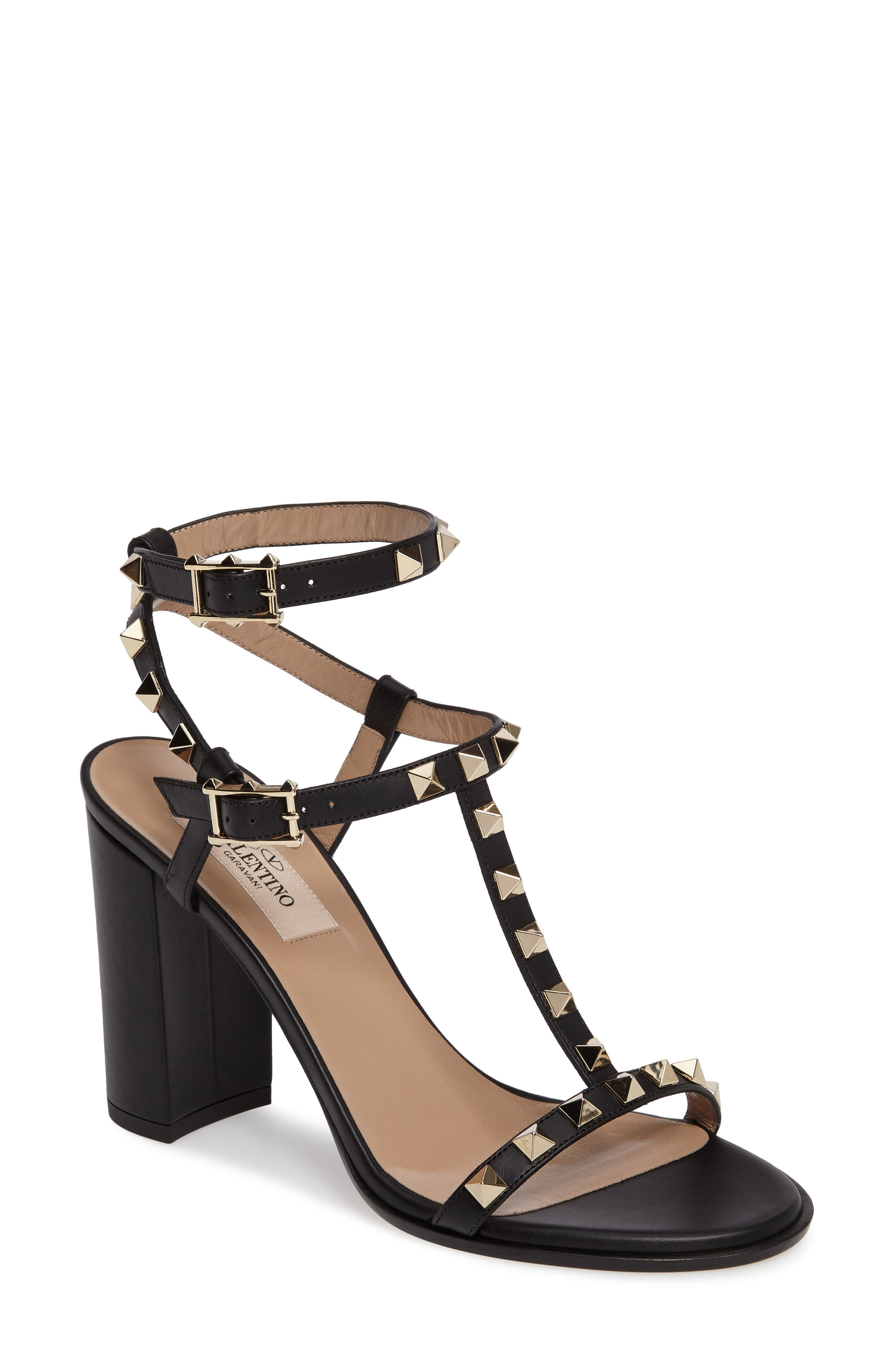 Main Image - Valentino Rockstud Ankle Strap Sandal (Women)