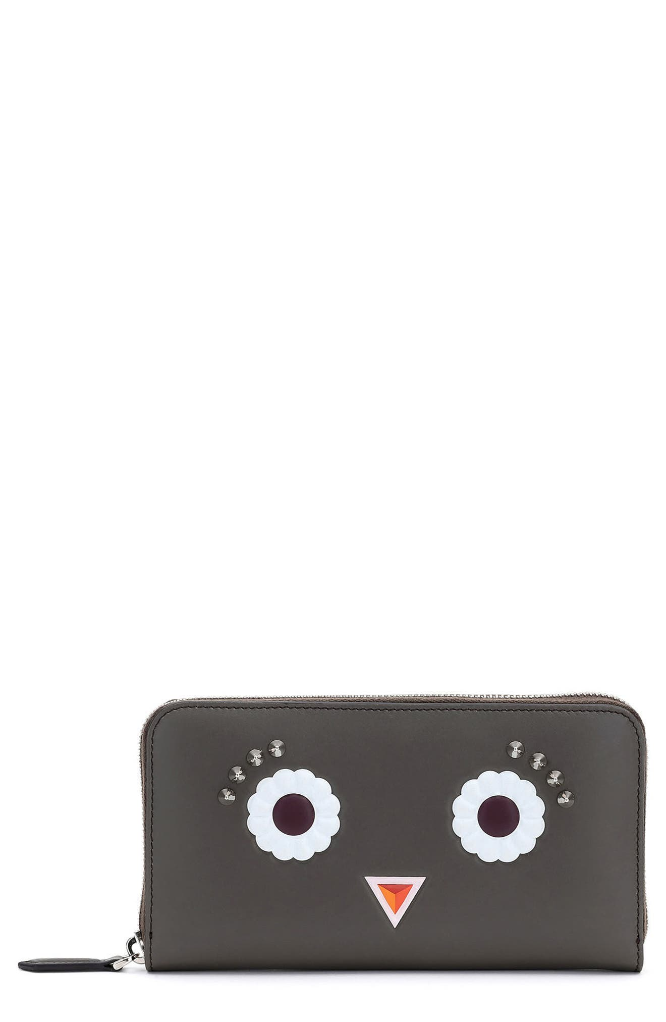 Fendi Faces Leather Zip Around Wallet